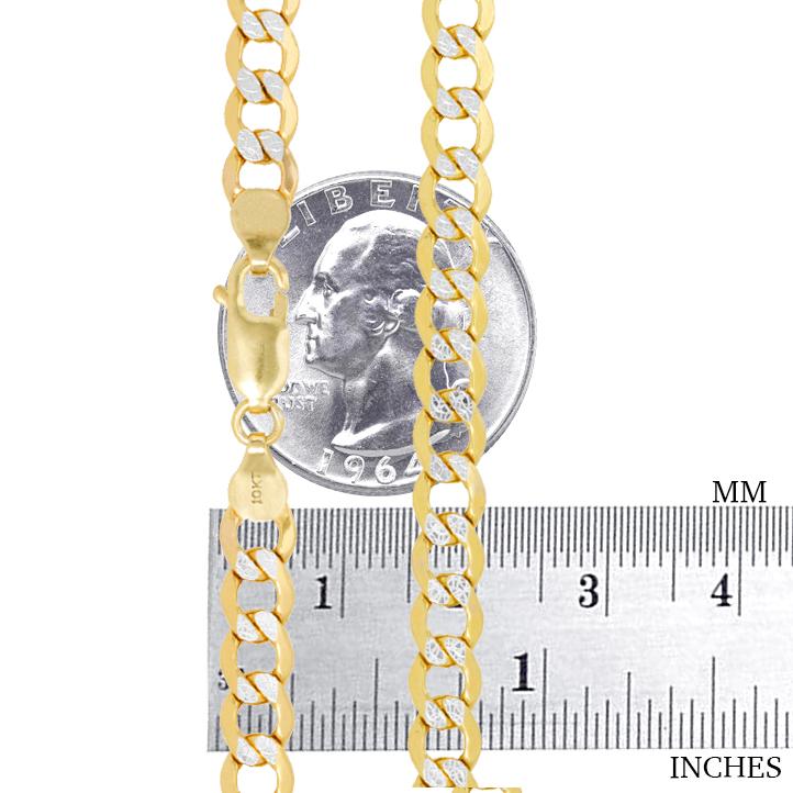 10K-Yellow-Gold-2mm-10-5mm-Diamond-Cut-Pave-Cuban-Chain-Necklace-Bracelet-7-034-30-034 thumbnail 24