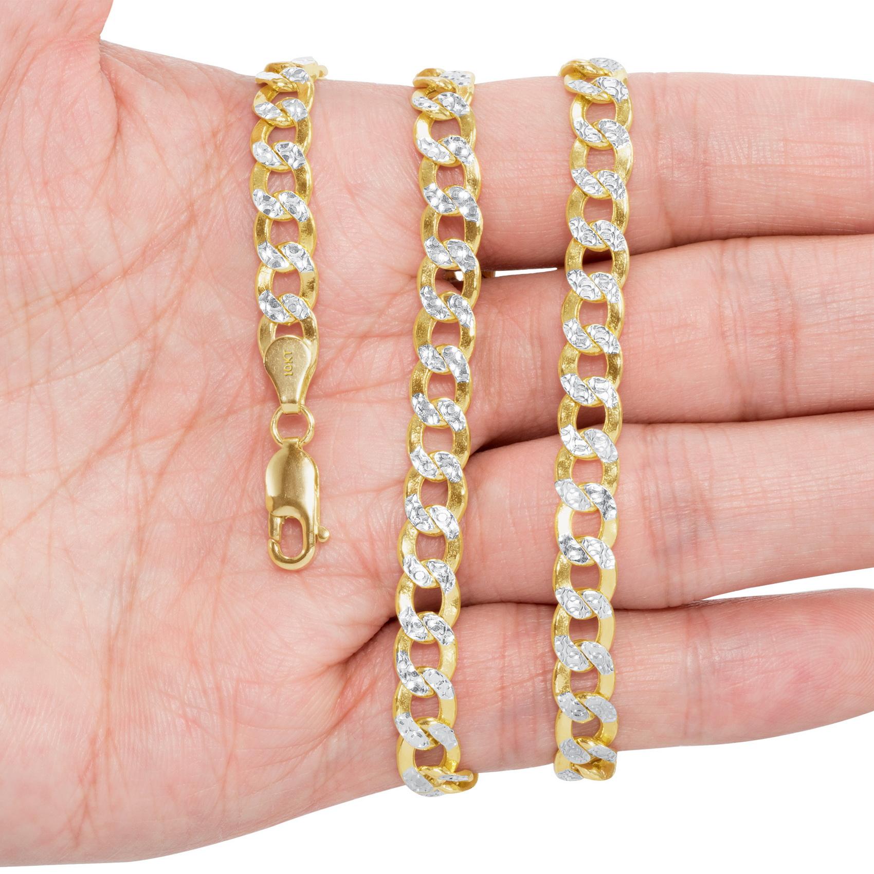 10K-Yellow-Gold-2mm-10-5mm-Diamond-Cut-Pave-Cuban-Chain-Necklace-Bracelet-7-034-30-034 thumbnail 25
