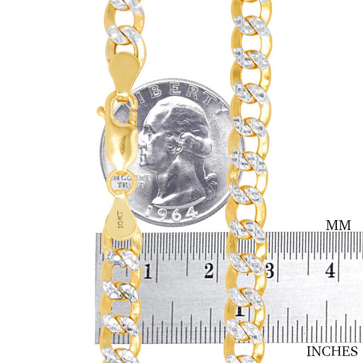 10K-Yellow-Gold-2mm-10-5mm-Diamond-Cut-Pave-Cuban-Chain-Necklace-Bracelet-7-034-30-034 thumbnail 26