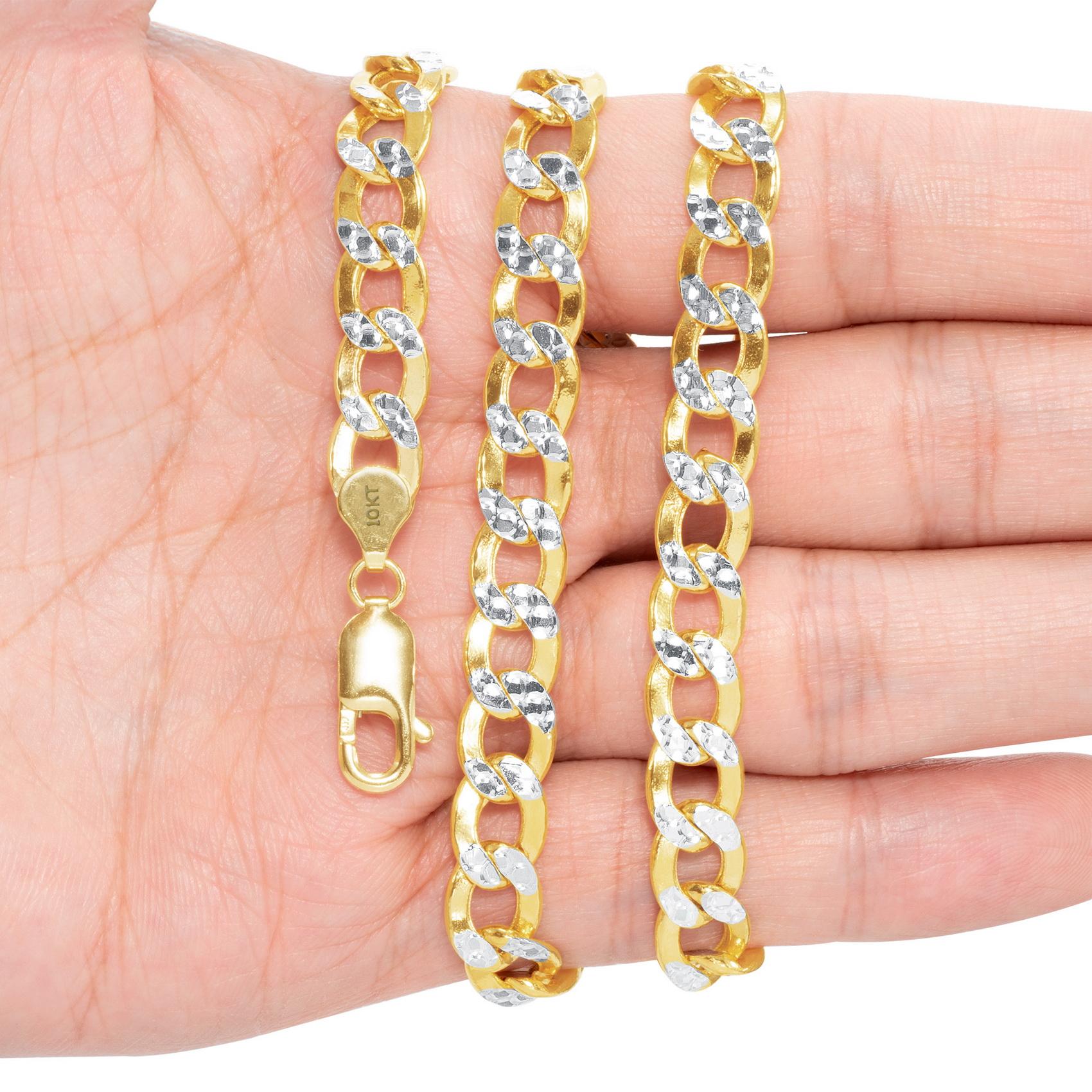 10K-Yellow-Gold-2mm-10-5mm-Diamond-Cut-Pave-Cuban-Chain-Necklace-Bracelet-7-034-30-034 thumbnail 27