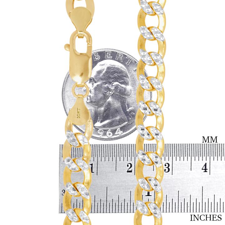 10K-Yellow-Gold-2mm-10-5mm-Diamond-Cut-Pave-Cuban-Chain-Necklace-Bracelet-7-034-30-034 thumbnail 28