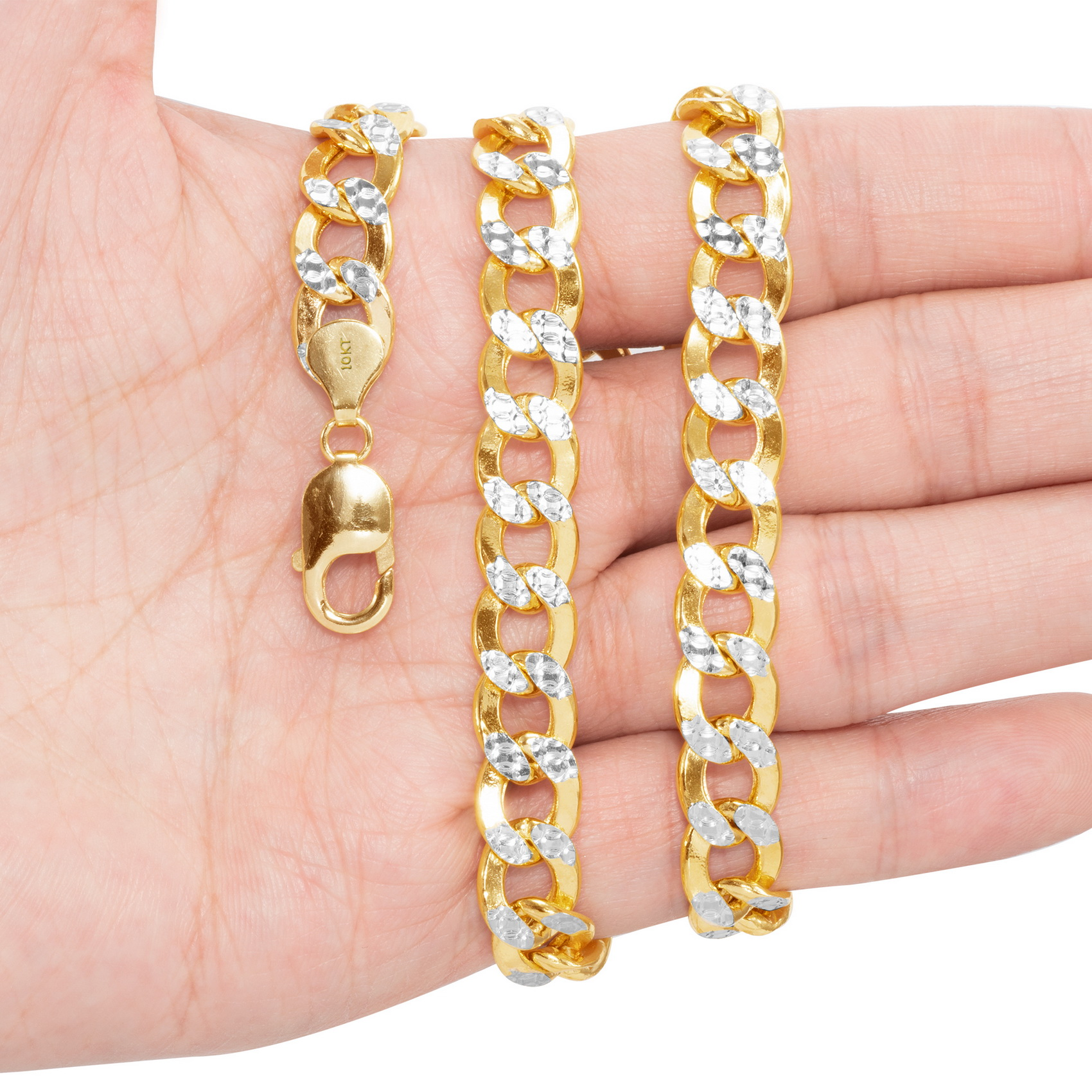 10K-Yellow-Gold-2mm-10-5mm-Diamond-Cut-Pave-Cuban-Chain-Necklace-Bracelet-7-034-30-034 thumbnail 29