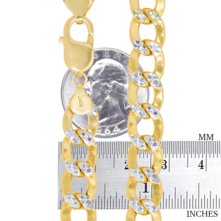 10K-Yellow-Gold-2mm-10-5mm-Diamond-Cut-Pave-Cuban-Chain-Necklace-Bracelet-7-034-30-034 thumbnail 12