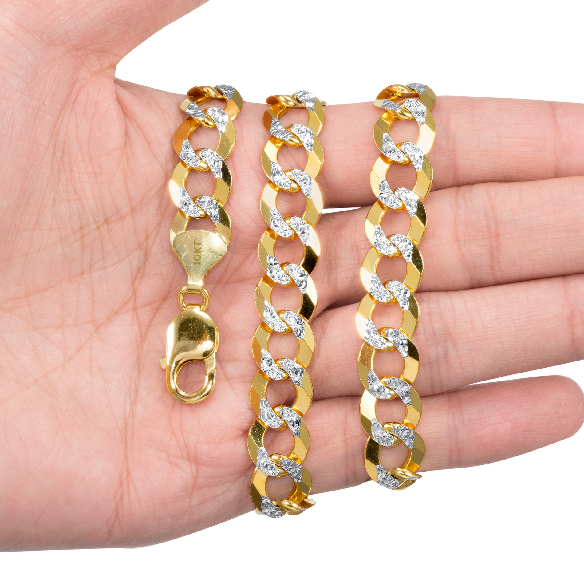 10k-Yellow-Gold-Solid-11-5mm-Diamond-Cut-Pave-Cuban-Curb-Chain-Necklace-22-034-30-034 thumbnail 11