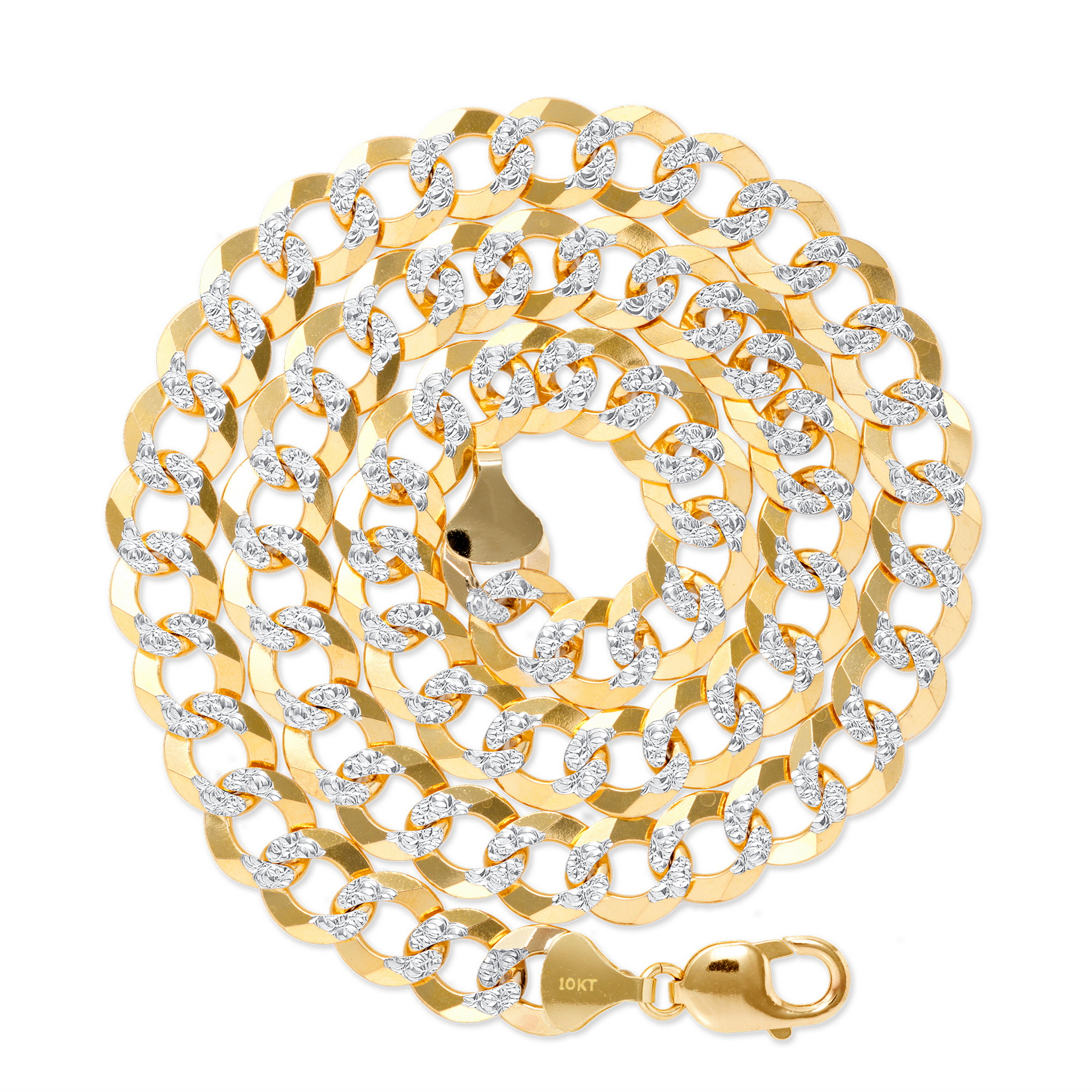 10k-Yellow-Gold-Solid-11-5mm-Diamond-Cut-Pave-Cuban-Curb-Chain-Necklace-22-034-30-034 thumbnail 14