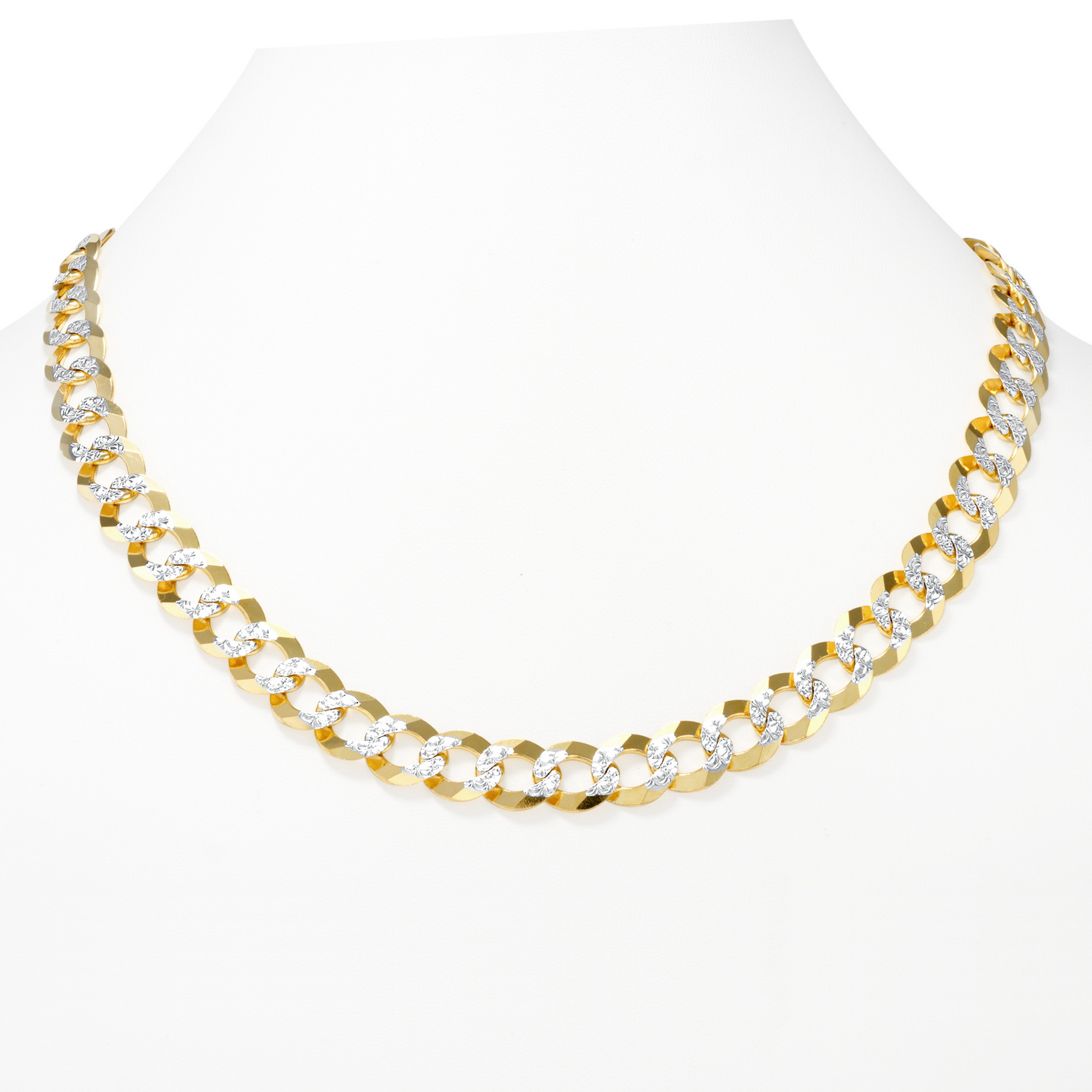 10k-Yellow-Gold-Solid-11-5mm-Diamond-Cut-Pave-Cuban-Curb-Chain-Necklace-22-034-30-034 thumbnail 17