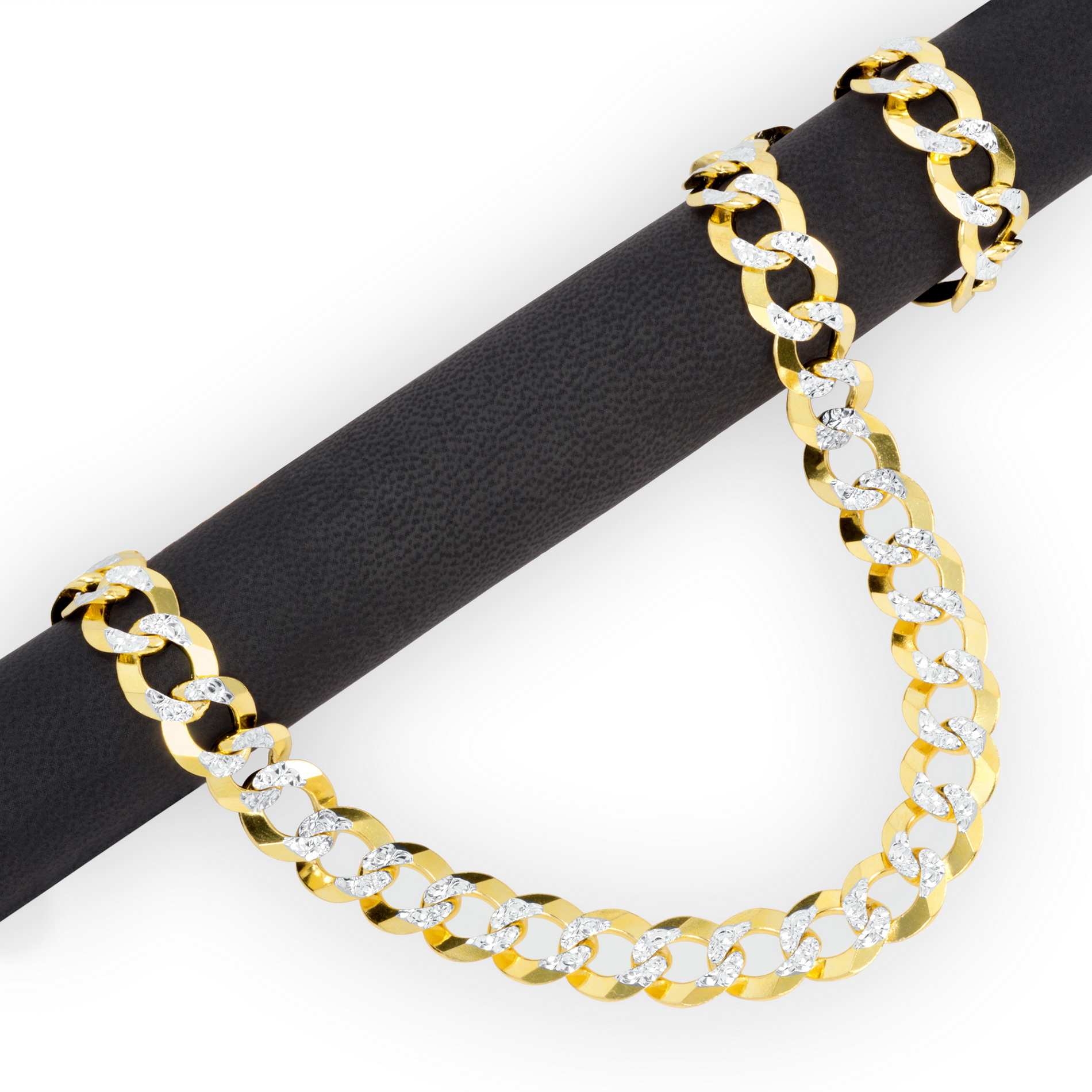 10k-Yellow-Gold-Solid-11-5mm-Diamond-Cut-Pave-Cuban-Curb-Chain-Necklace-22-034-30-034 thumbnail 18