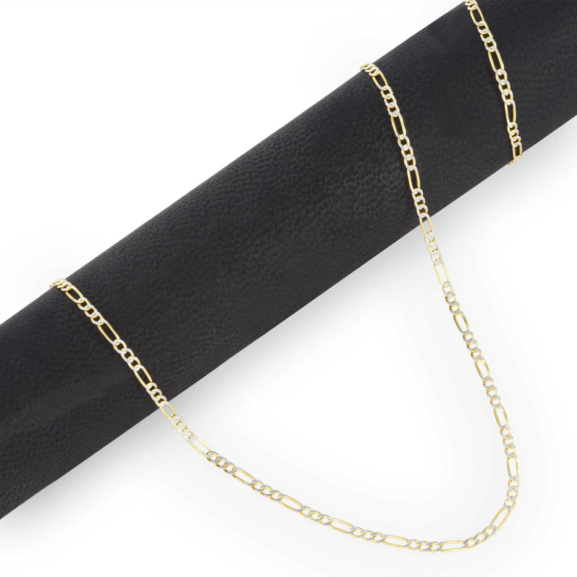 """Link Women 10K Solid Yellow White Rose Gold Figaro Necklace Chain 2.3mm 16-24/"""""""