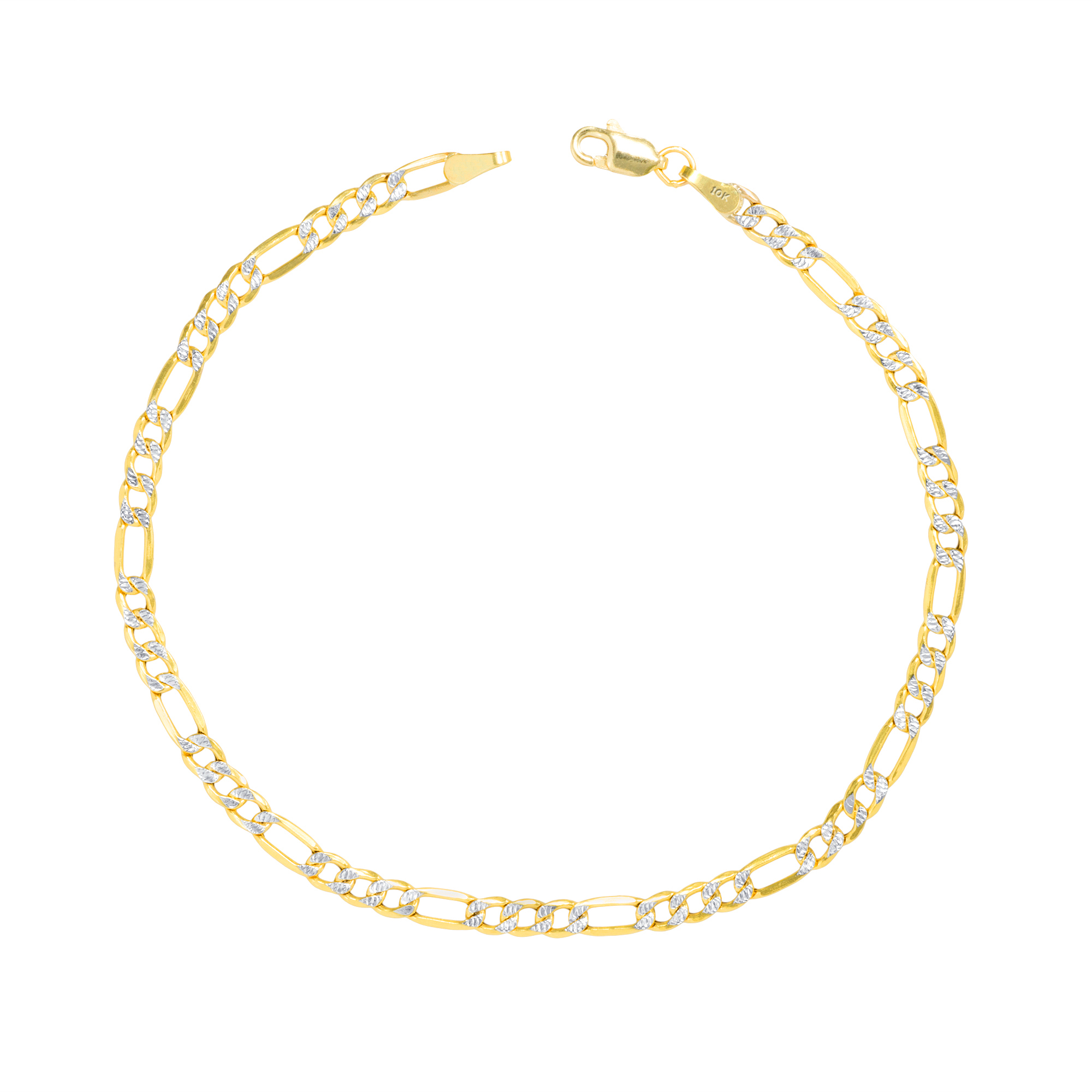 10K-Yellow-Gold-2-5-9mm-Diamond-Cut-White-Pave-Figaro-Link-Chain-Bracelet-7-034-9-034 thumbnail 10