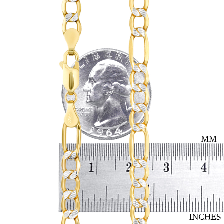 10K-Yellow-Gold-2-5-9mm-Diamond-Cut-White-Pave-Figaro-Link-Chain-Bracelet-7-034-9-034 thumbnail 17