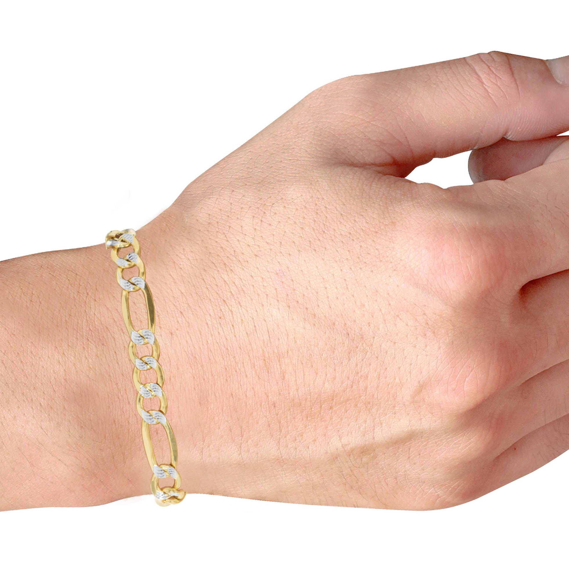 10K-Yellow-Gold-2-5-9mm-Diamond-Cut-White-Pave-Figaro-Link-Chain-Bracelet-7-034-9-034 thumbnail 22