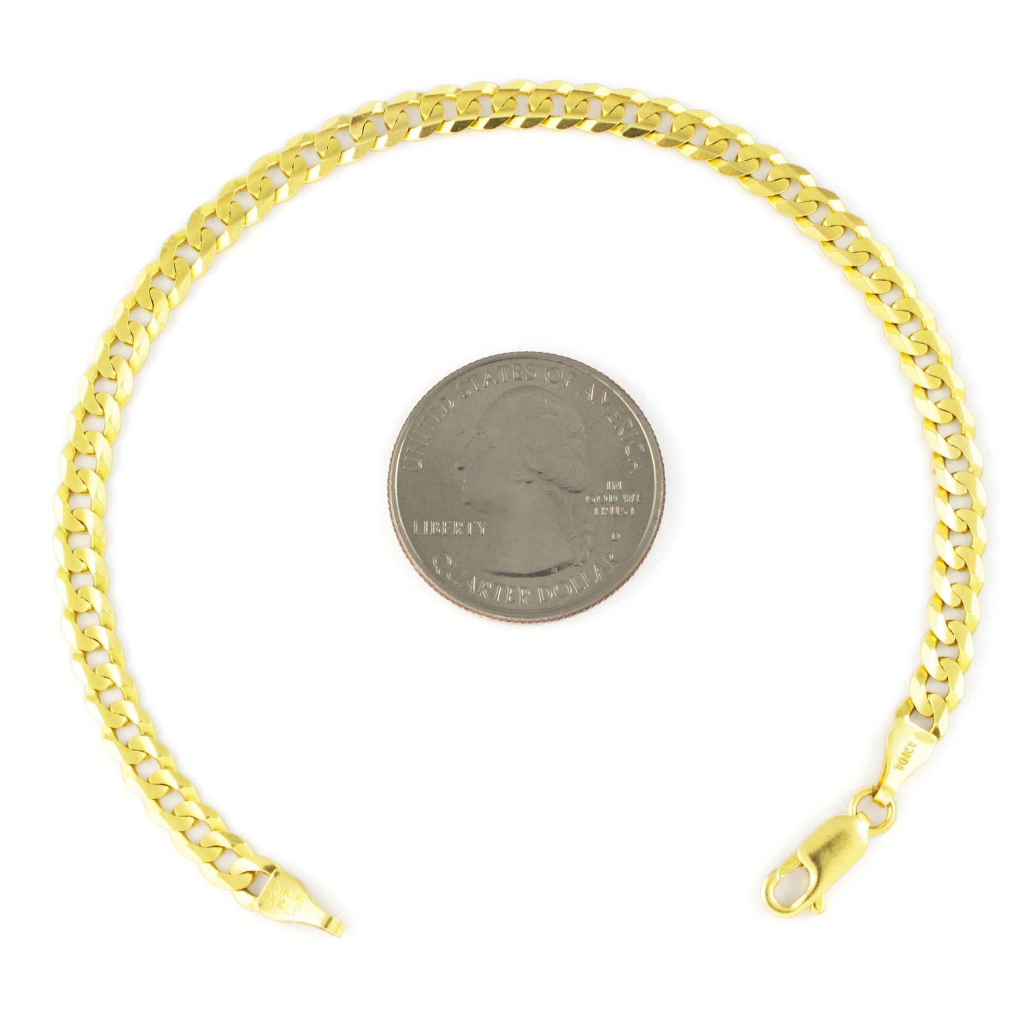 10K-Yellow-Gold-5-5mm-Cuban-Curb-Chain-Bracelet-Lobster-Clasp-Men-Women-7-034-8-034-9-034 thumbnail 15