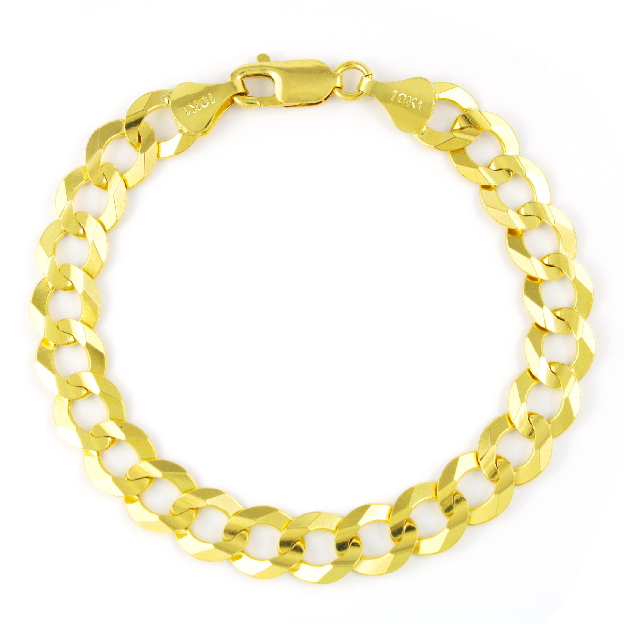 62d772db7fb6c Details about Mens 10K Yellow Gold Solid 10mm Italy Cuban Curb Chain Link  Bracelet 8