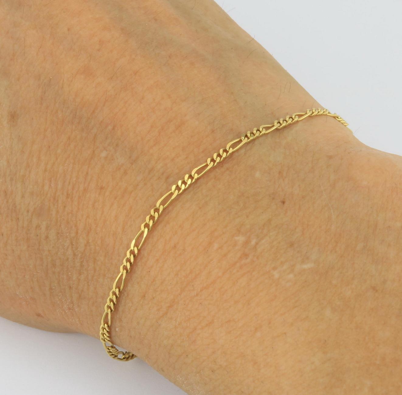 10K-Yellow-Gold-2-5mm-Womens-Dainty-Figaro-Chain-Link-Bracelet-Anklet-7-034-8-034-9-034 thumbnail 13