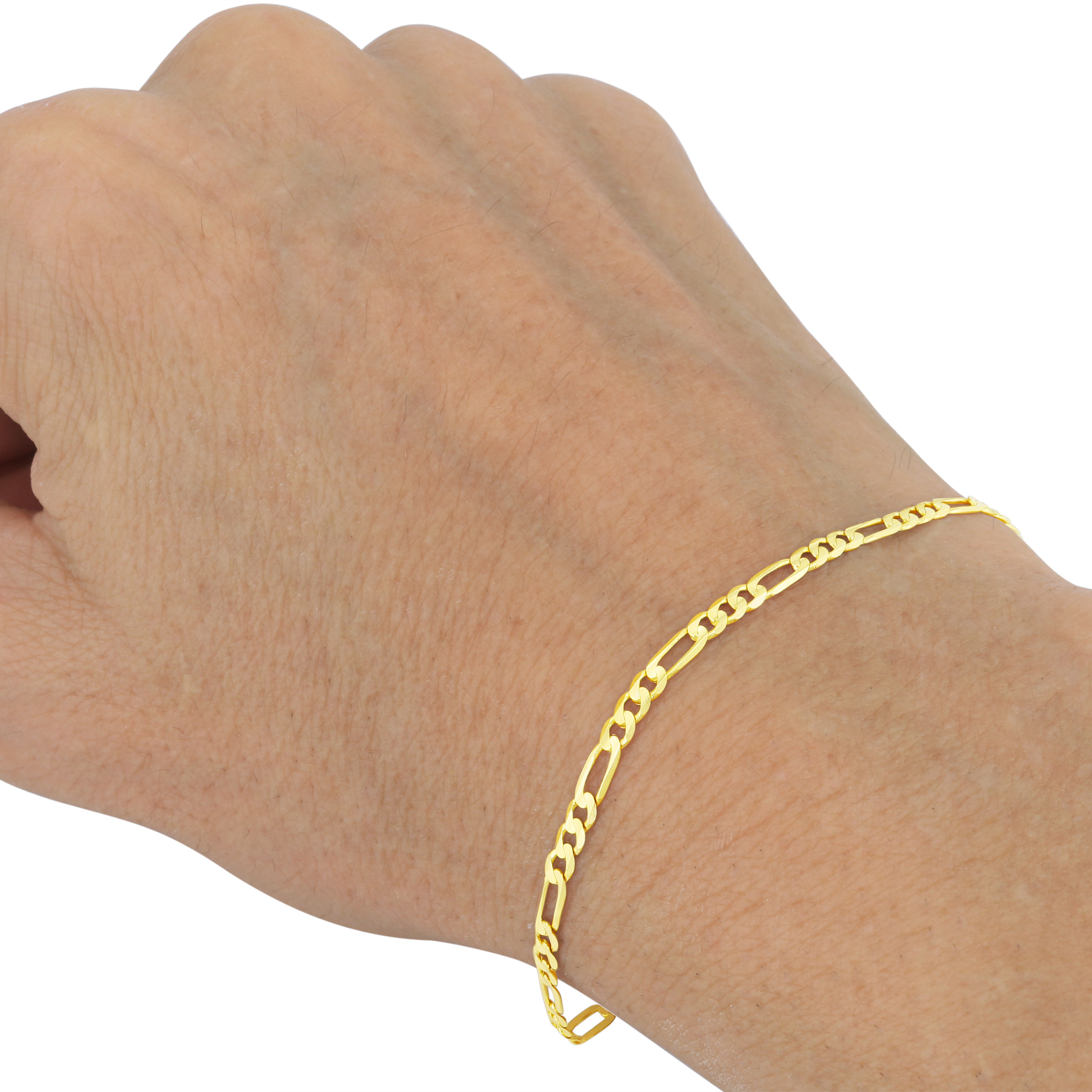 10k Yellow Gold Solid Real 4mm Italy Womens Figaro Chain Link