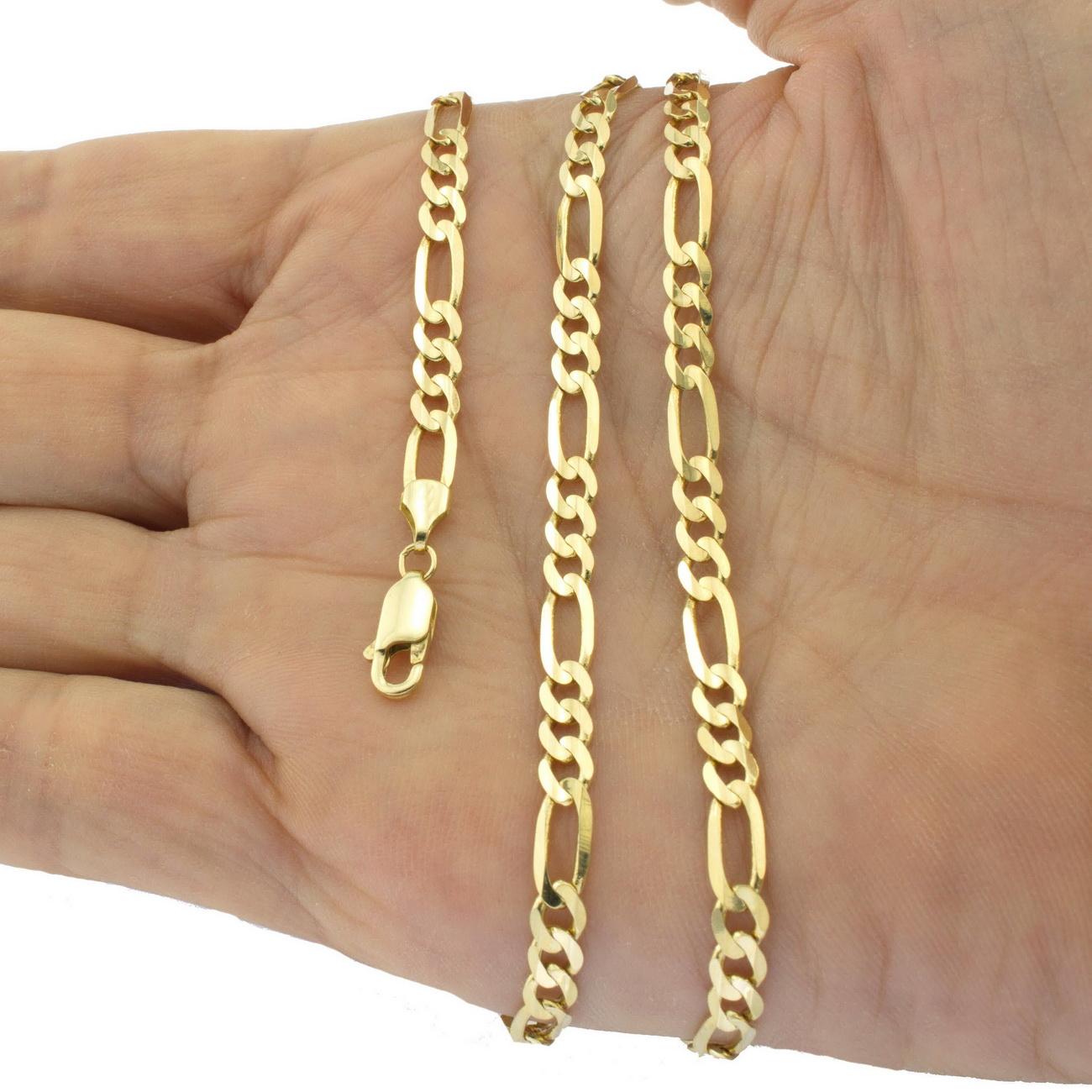 Chain Bracelet Womens: 10K Yellow Gold Italian Figaro Chain Link Bracelet Mens