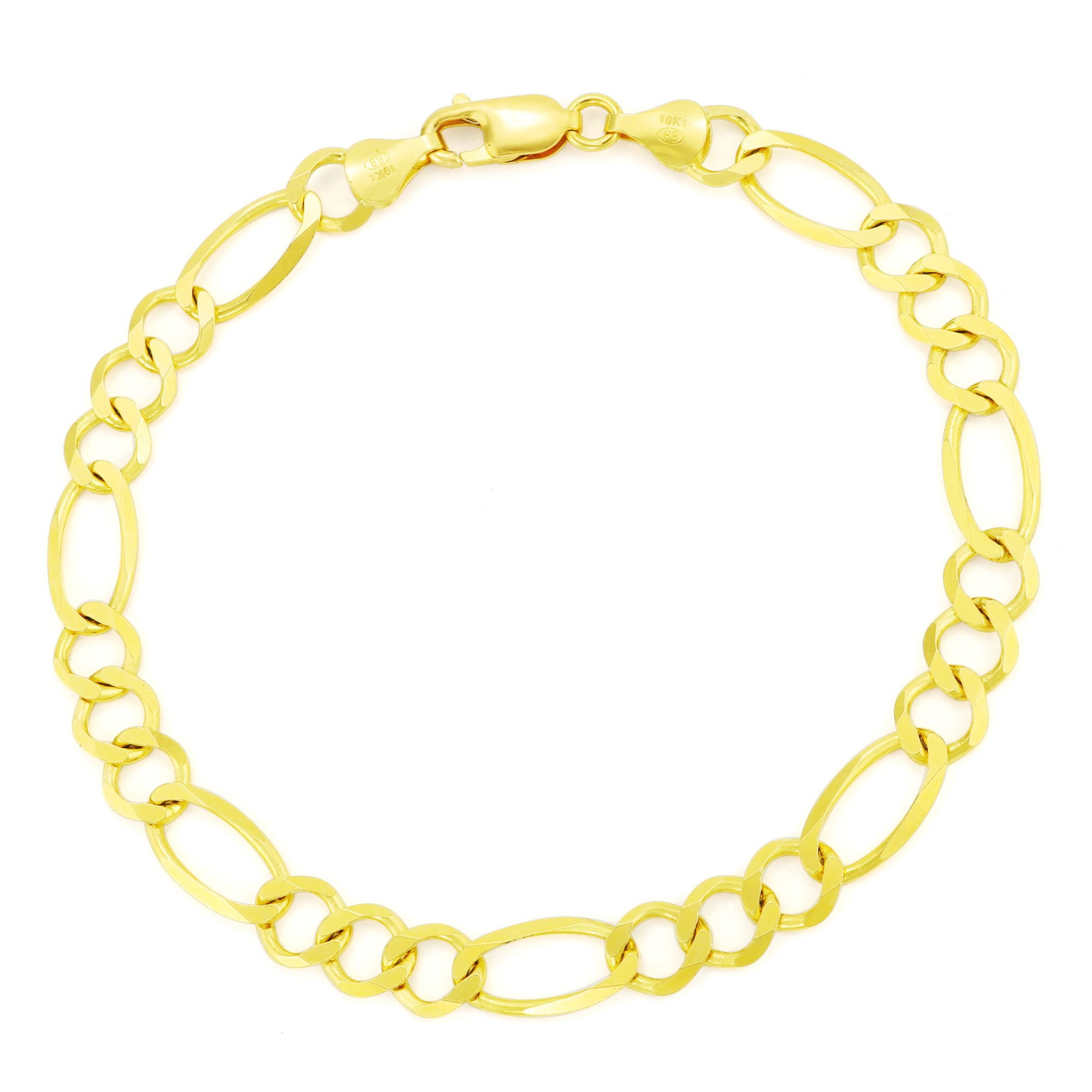 10K Yellow Gold 7.5mm Italian Link Figaro Chain Bracelet Lobster Clasp 8in 8/""
