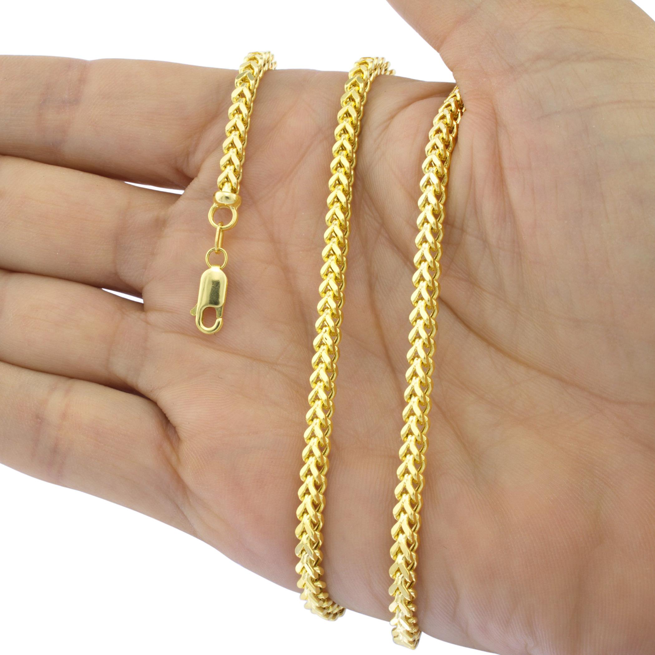 10K Yellow Gold 1.5mm-6mm Square Wheat Box Franco Chain