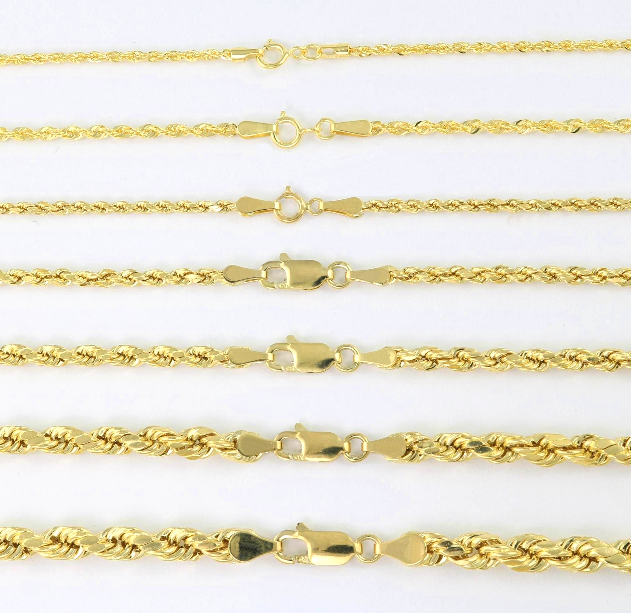 "10K Yellow Gold Light 1.5mm-4mm Diamond Cut Rope Chain Pendant Necklace 14""- 30"" 2"