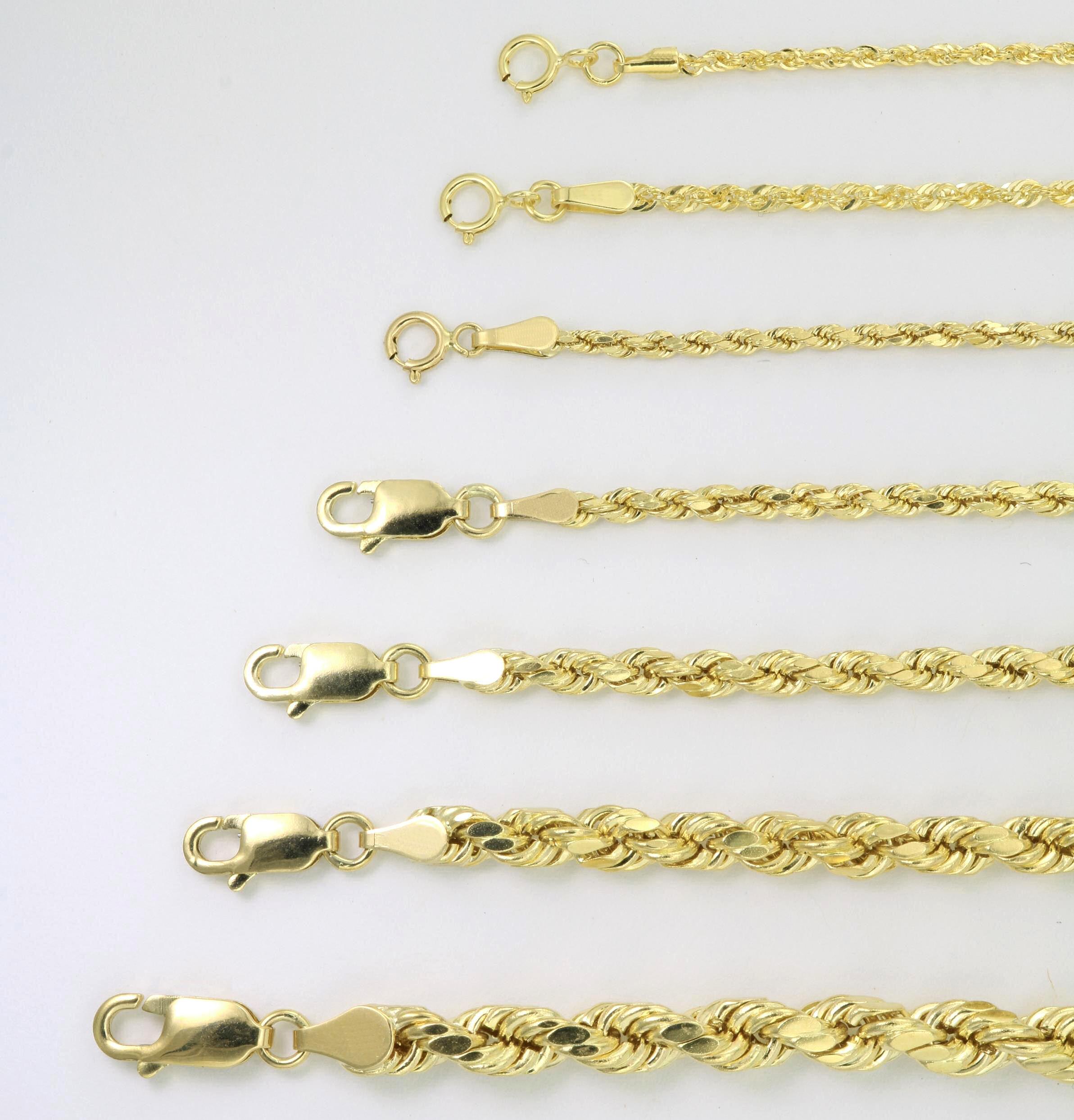 "10K Yellow Gold Light 1.5mm-4mm Diamond Cut Rope Chain Pendant Necklace 14""- 30"" 4"