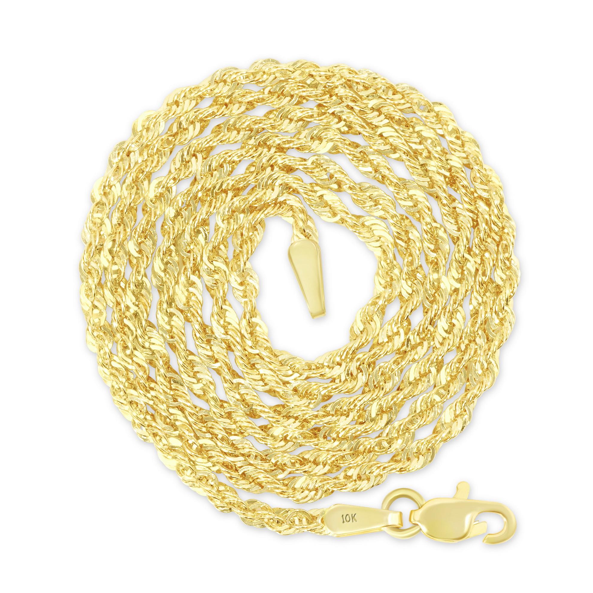 "10K Yellow Gold Light 1.5mm-4mm Diamond Cut Rope Chain Pendant Necklace 14""- 30"" 11"