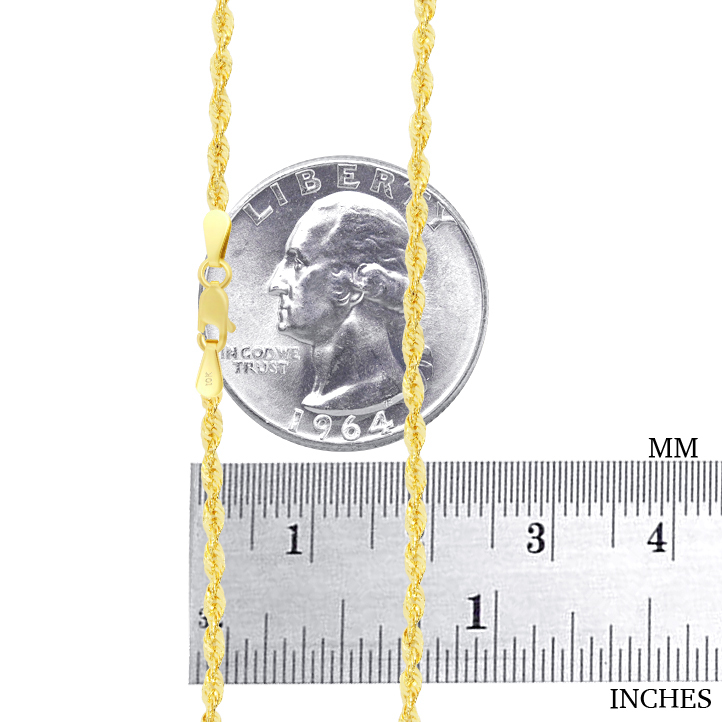 10K-Yellow-Gold-Light-1-5mm-4mm-Diamond-Cut-Rope-Chain-Pendant-Necklace-14-034-30-034 thumbnail 18