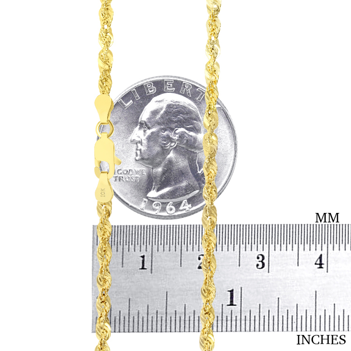 10K-Yellow-Gold-Light-1-5mm-4mm-Diamond-Cut-Rope-Chain-Pendant-Necklace-14-034-30-034 thumbnail 22