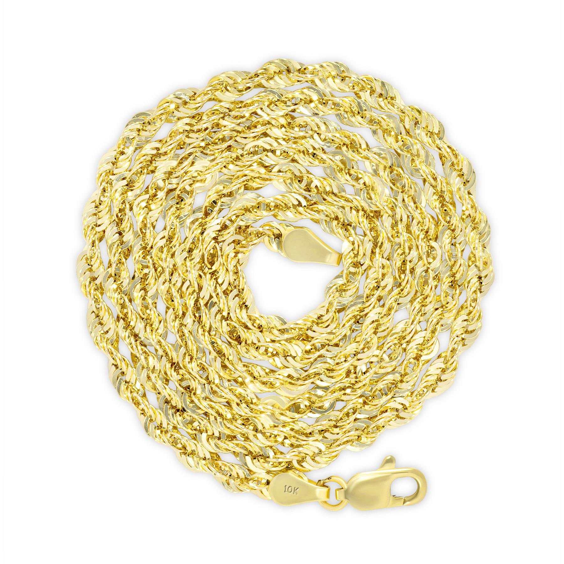 "10K Yellow Gold Light 1.5mm-4mm Diamond Cut Rope Chain Pendant Necklace 14""- 30"" 10"