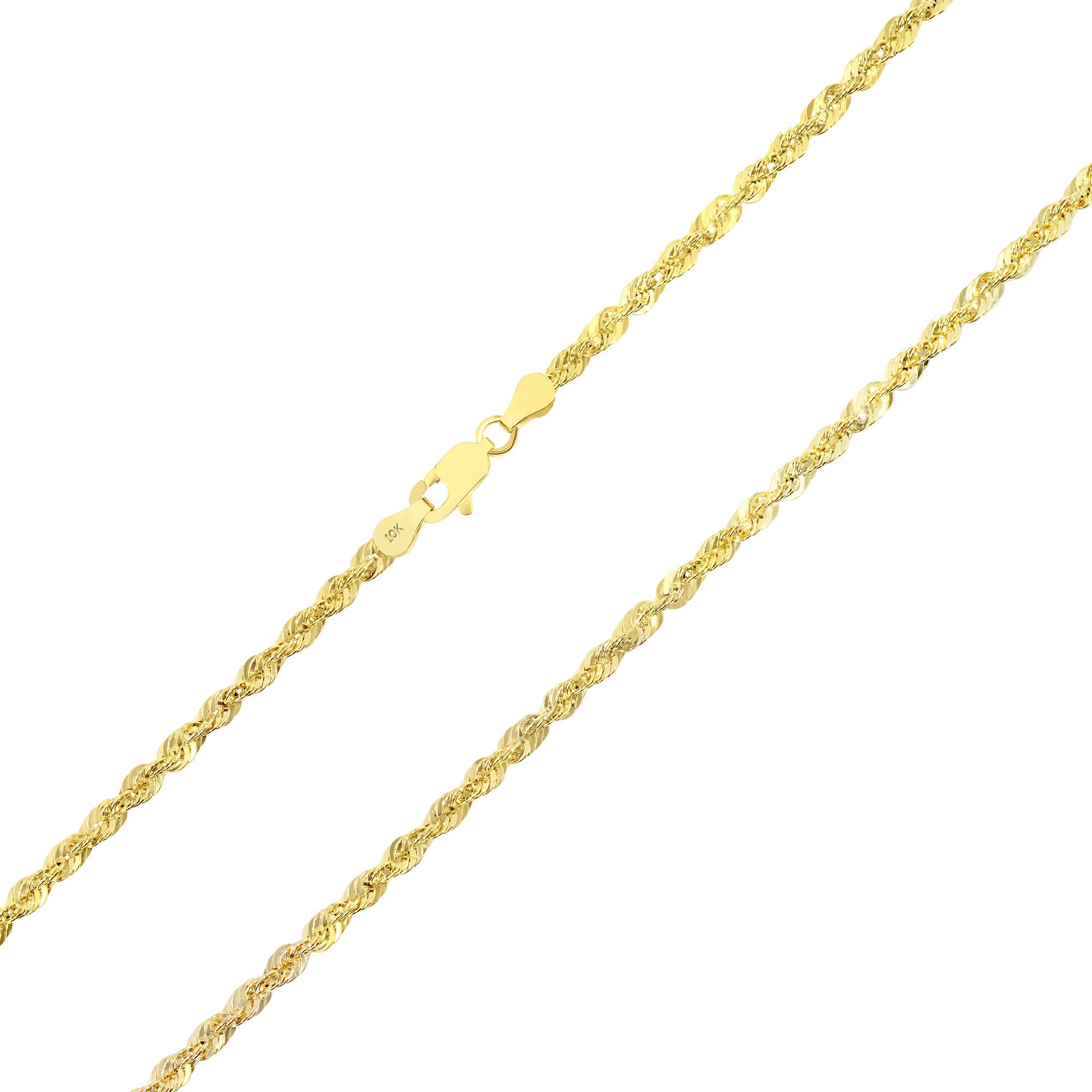 "10K Yellow Gold Light 1.5mm-4mm Diamond Cut Rope Chain Pendant Necklace 14""- 30"" 5"