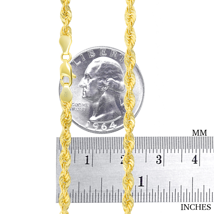 10K-Yellow-Gold-Light-1-5mm-4mm-Diamond-Cut-Rope-Chain-Pendant-Necklace-14-034-30-034 thumbnail 24
