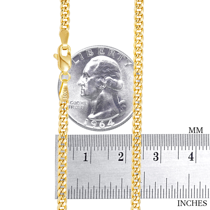 10K-Yellow-Gold-3-5mm-17mm-Real-Miami-Cuban-Link-Necklace-Chain-Bracelet-7-034-30-034 thumbnail 19