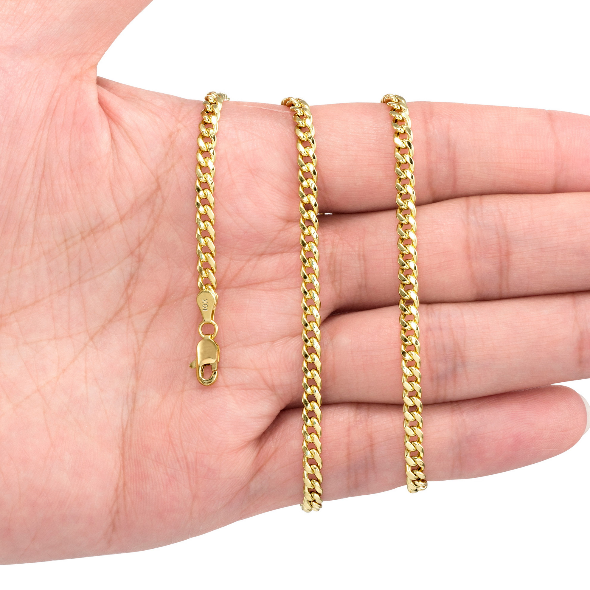 10K-Yellow-Gold-3-5mm-17mm-Real-Miami-Cuban-Link-Necklace-Chain-Bracelet-7-034-30-034 thumbnail 22