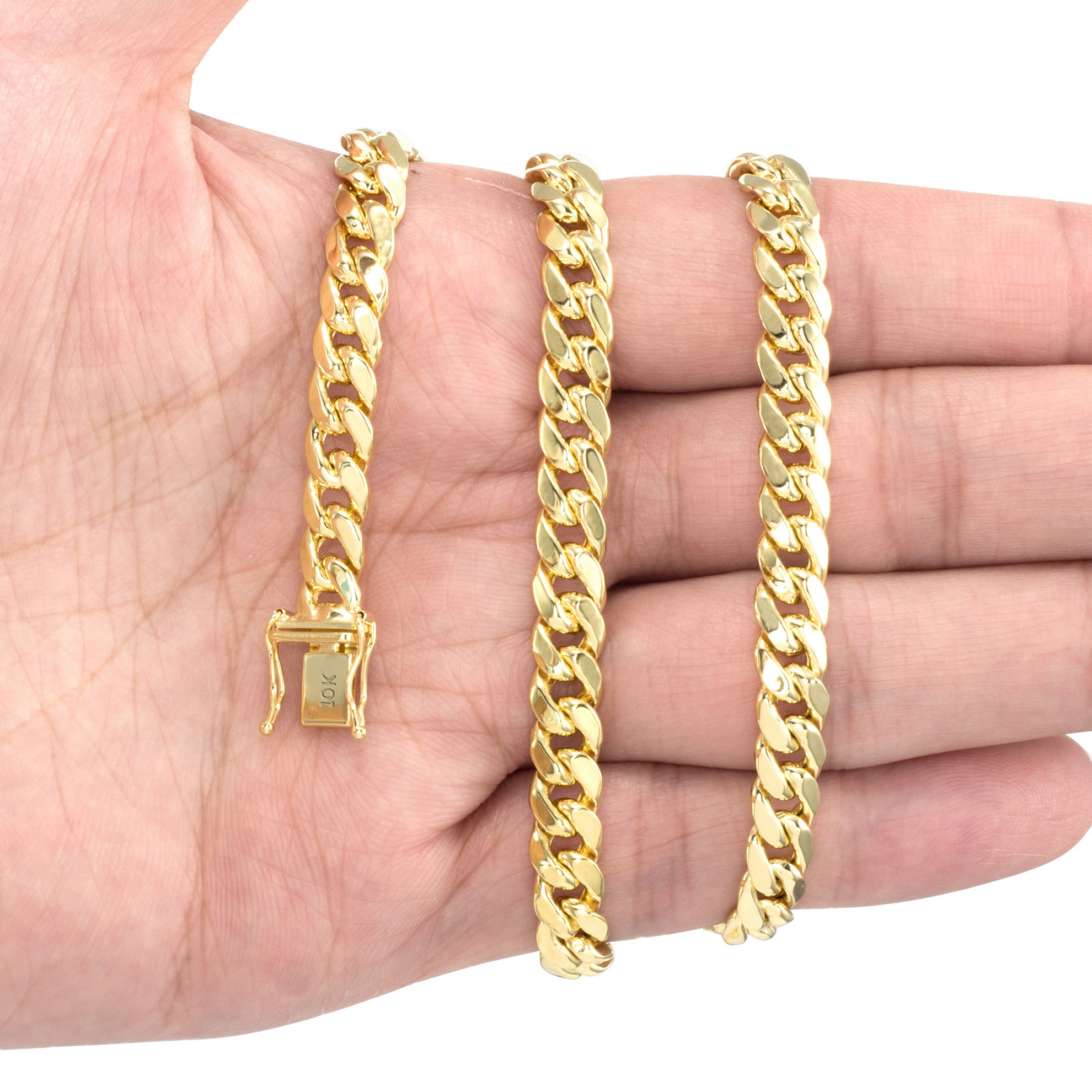 10K-Yellow-Gold-3-5mm-17mm-Real-Miami-Cuban-Link-Necklace-Chain-Bracelet-7-034-30-034 thumbnail 28