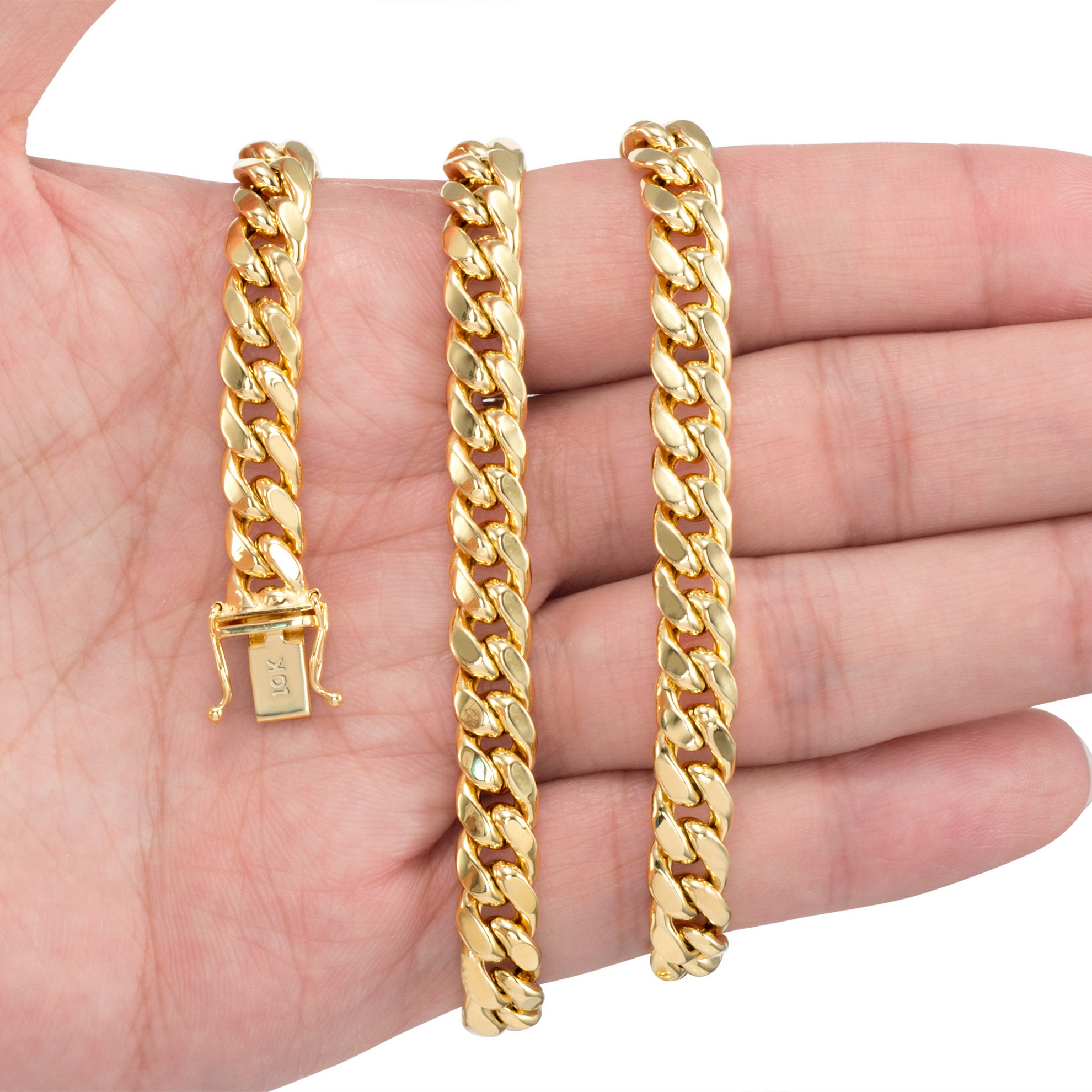10K-Yellow-Gold-3-5mm-17mm-Real-Miami-Cuban-Link-Necklace-Chain-Bracelet-7-034-30-034 thumbnail 30