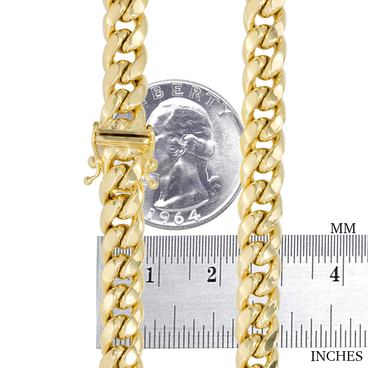 10K-Yellow-Gold-3-5mm-17mm-Real-Miami-Cuban-Link-Necklace-Chain-Bracelet-7-034-30-034 thumbnail 31