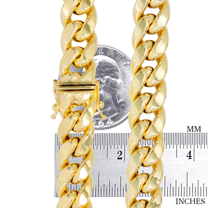 10K-Yellow-Gold-3-5mm-17mm-Real-Miami-Cuban-Link-Necklace-Chain-Bracelet-7-034-30-034 thumbnail 13
