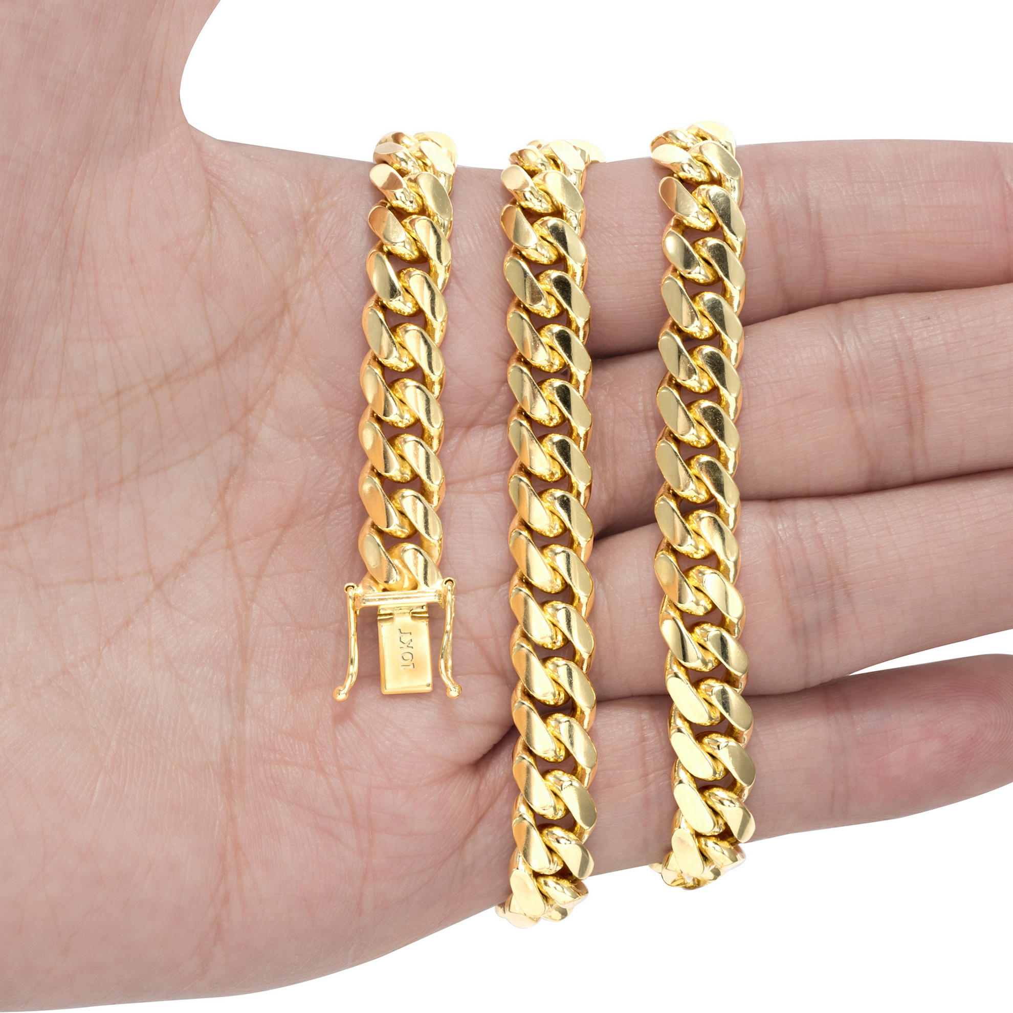 10K-Yellow-Gold-Solid-2-7mm-10mm-Miami-Cuban-Link-Chain-Necklace-Bracelet-7-034-30-034 thumbnail 26