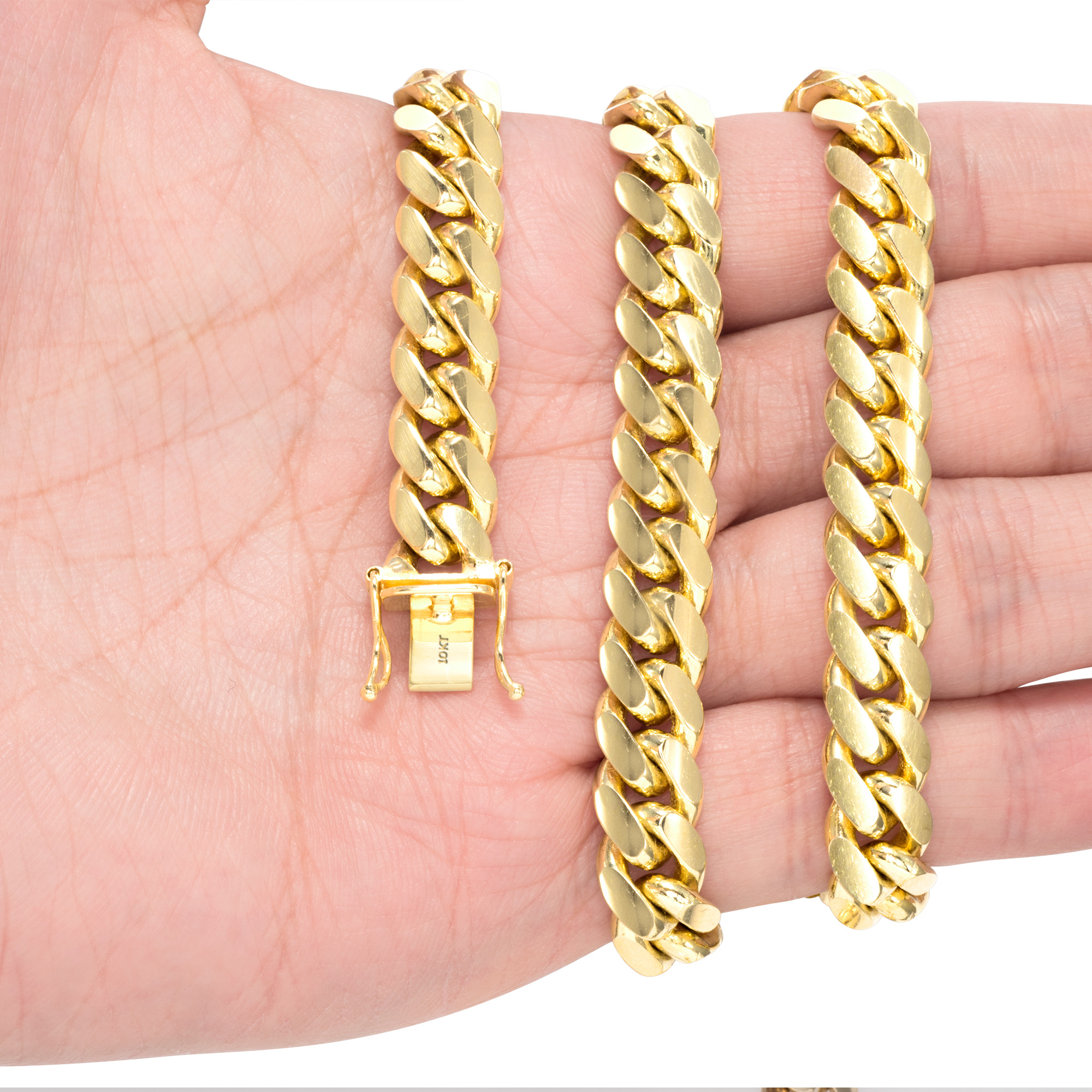10K-Yellow-Gold-Solid-2-7mm-10mm-Miami-Cuban-Link-Chain-Necklace-Bracelet-7-034-30-034 thumbnail 28