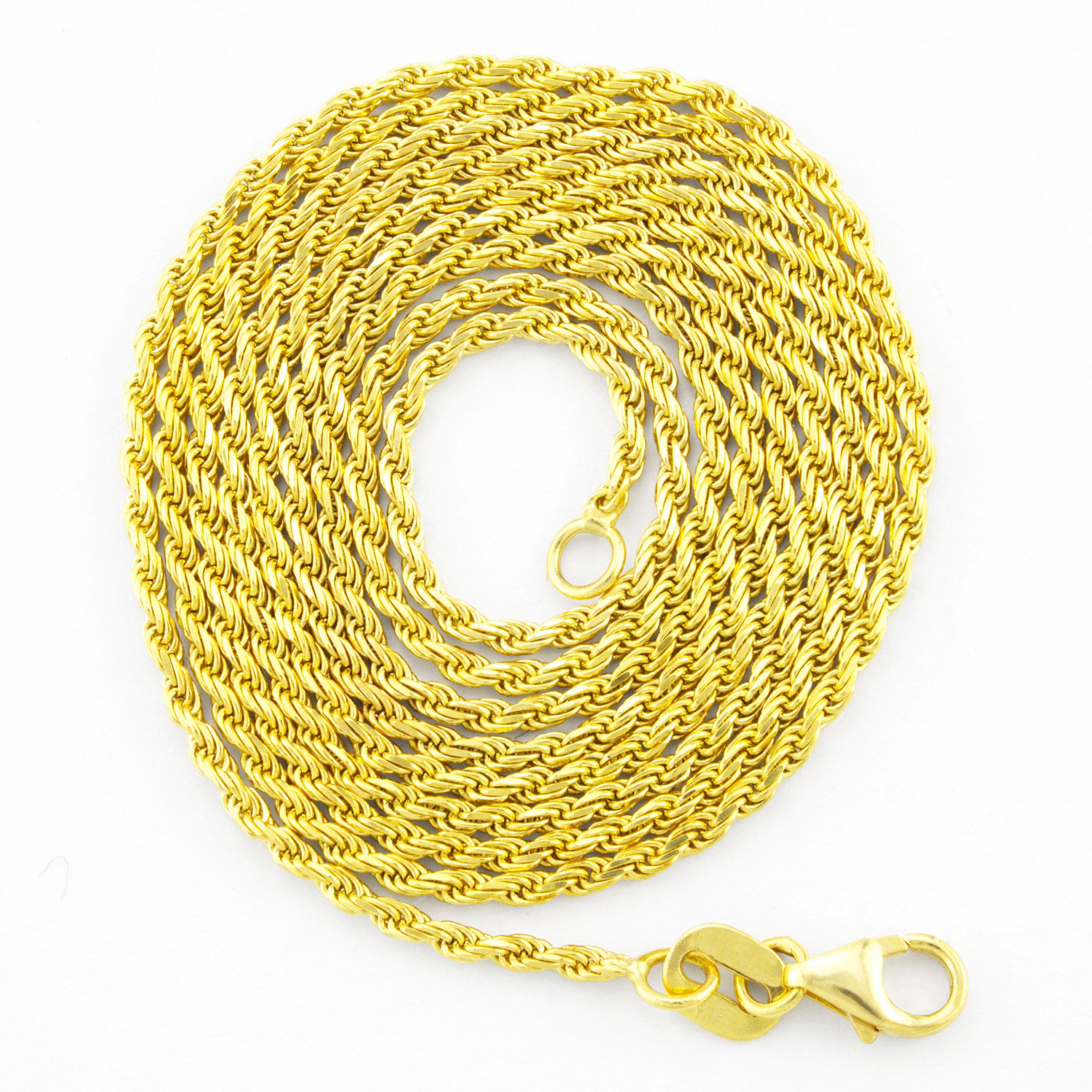 10K-Yellow-Gold-1-5mm-Thin-Diamond-Cut-Rope-Chain-Pendant-Necklace-Women-14-034-26-034 thumbnail 15
