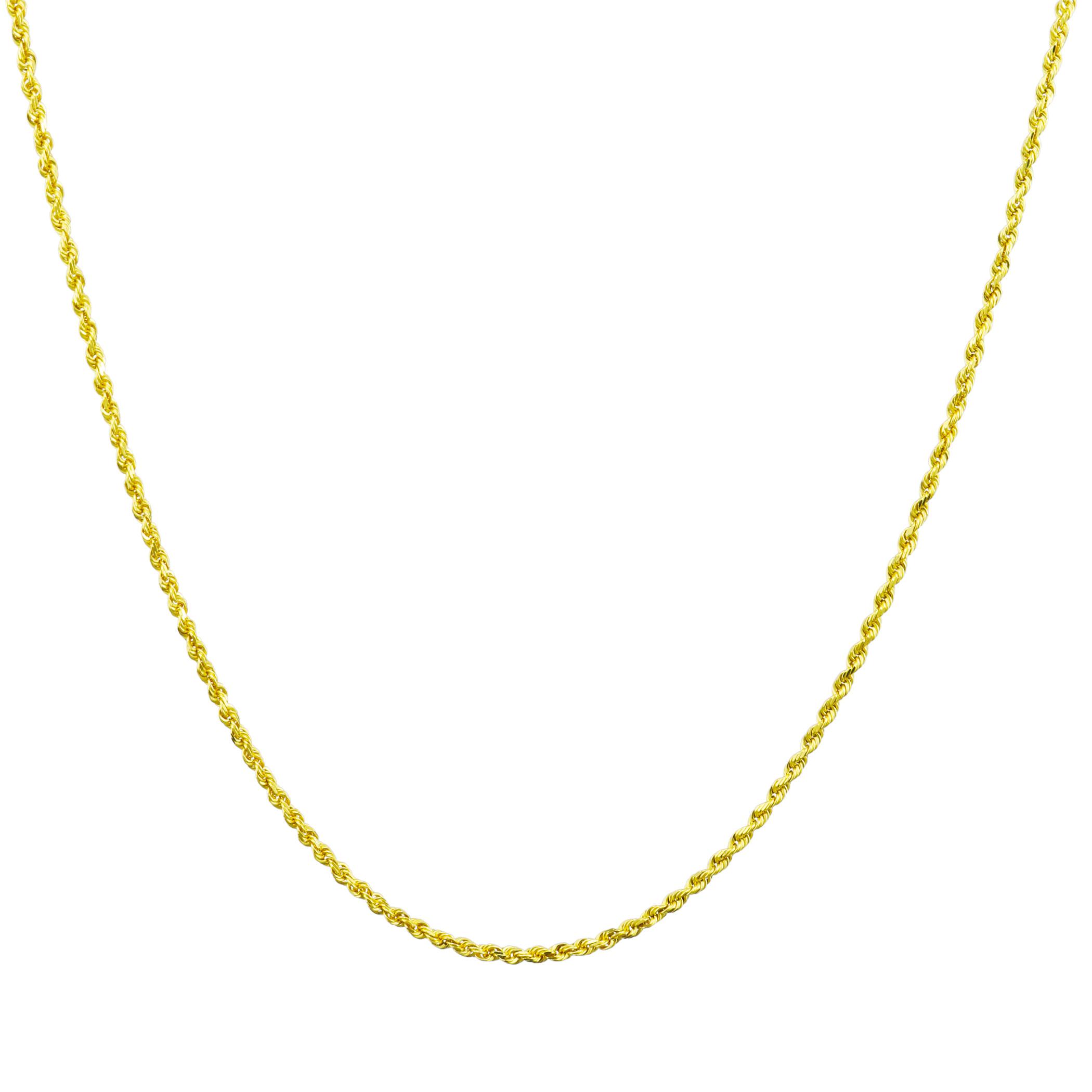 10K-Yellow-Gold-1-5mm-Thin-Diamond-Cut-Rope-Chain-Pendant-Necklace-Women-14-034-26-034 thumbnail 18