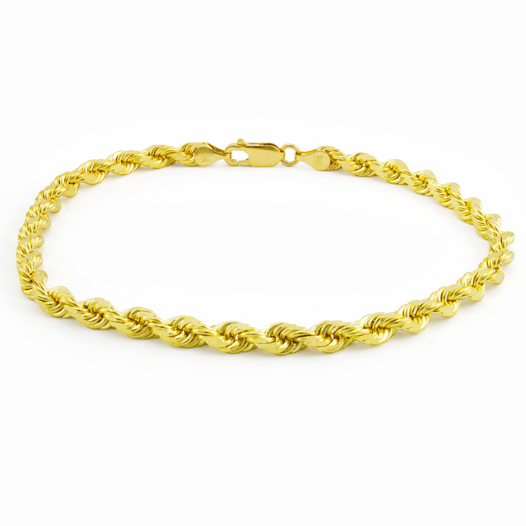 "10K Real Yellow Gold Men Womens 5mm Diamond Cut Rope Chain Bracelet 8"" 8.5"" 9"""