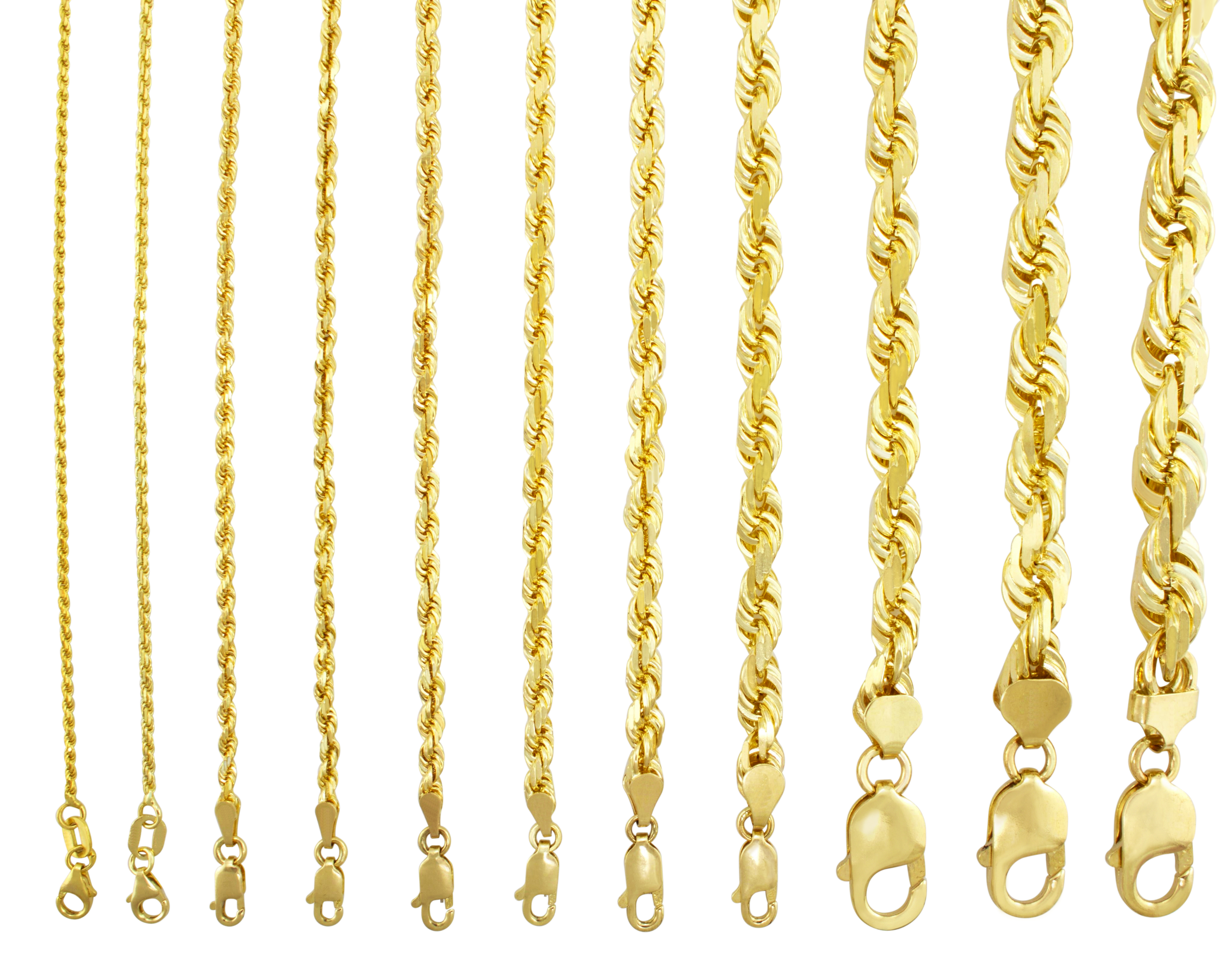 983942e7038d9 Details about 10K Yellow Gold 1mm-10mm Diamond Cut Solid Rope Chain Pendant  Necklace 16