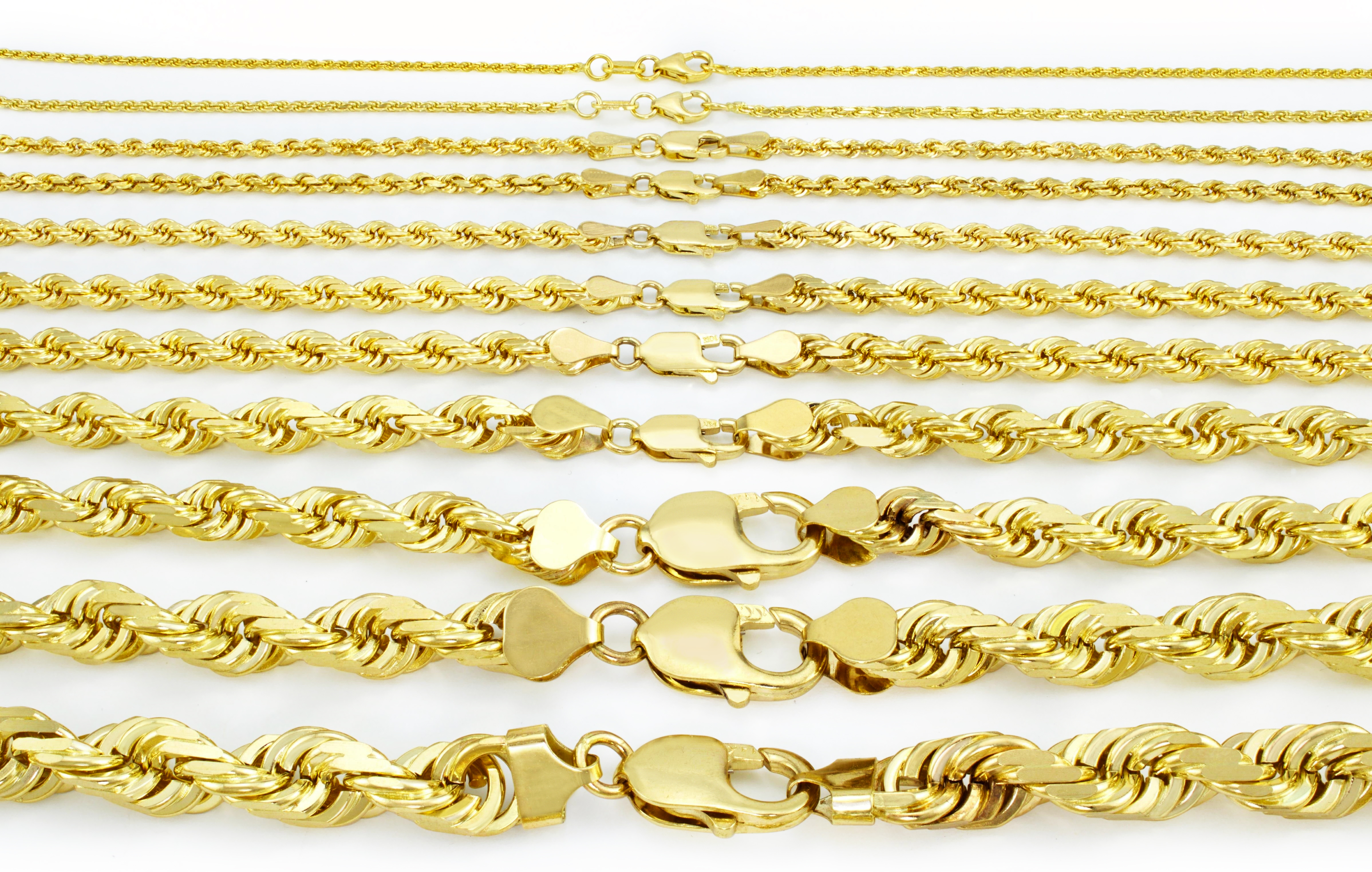 10K-Yellow-Gold-1mm-10mm-Diamond-Cut-Solid-Rope-Chain-Pendant-Necklace-16-034-32-034 thumbnail 2
