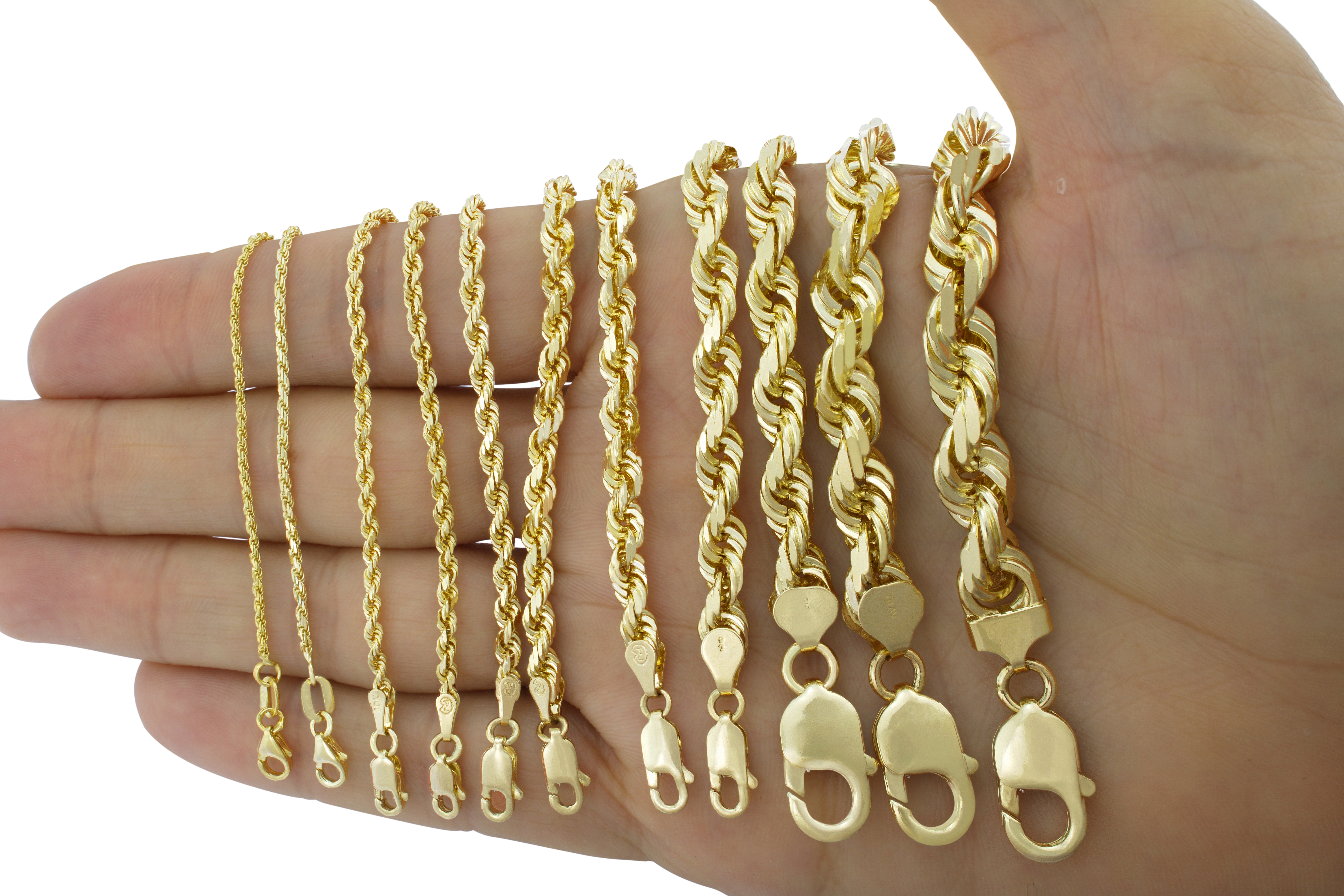 10K-Yellow-Gold-1mm-10mm-Diamond-Cut-Solid-Rope-Chain-Pendant-Necklace-16-034-32-034 thumbnail 3