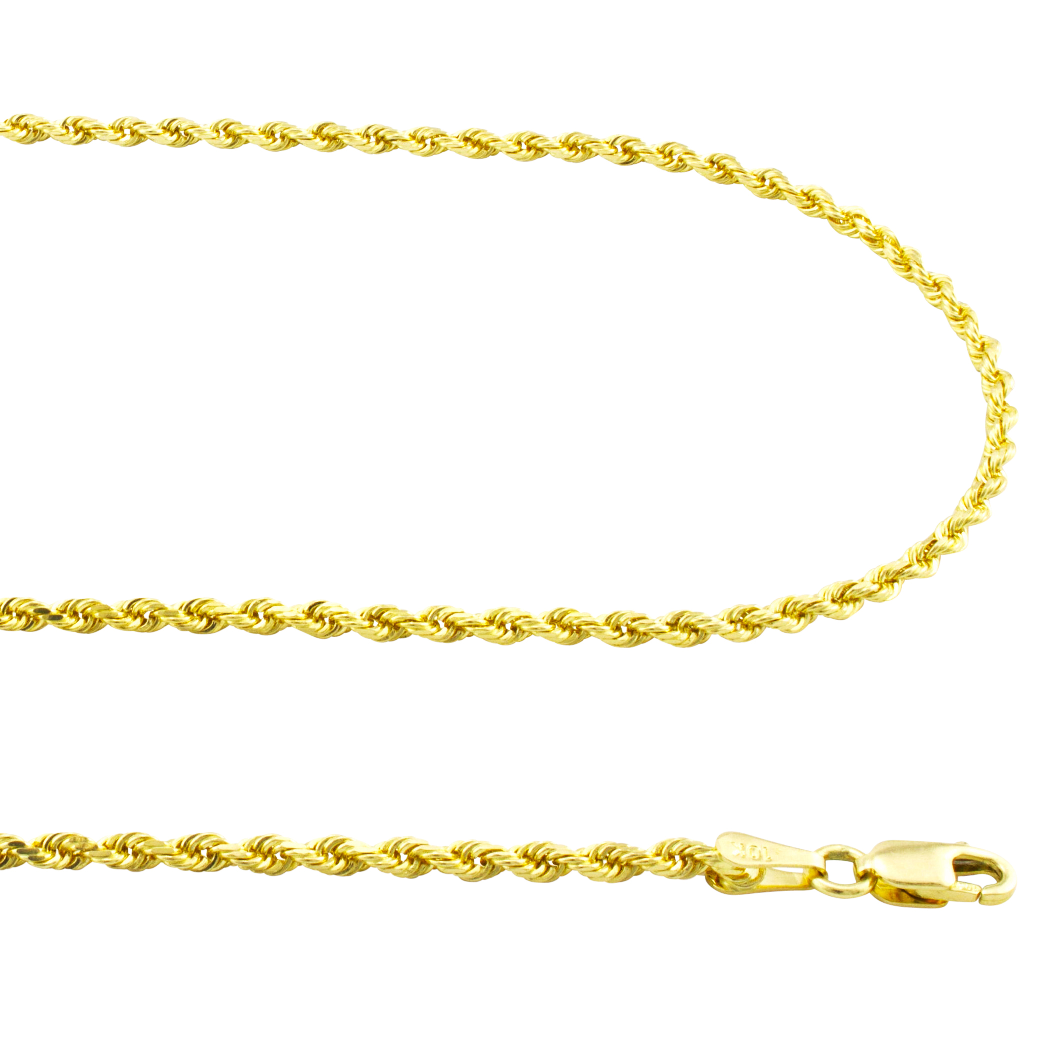 7-9 Womens 14k Yellow Gold Solid 2.5mm Diamond Cut Rope Chain Bracelet or Anklet