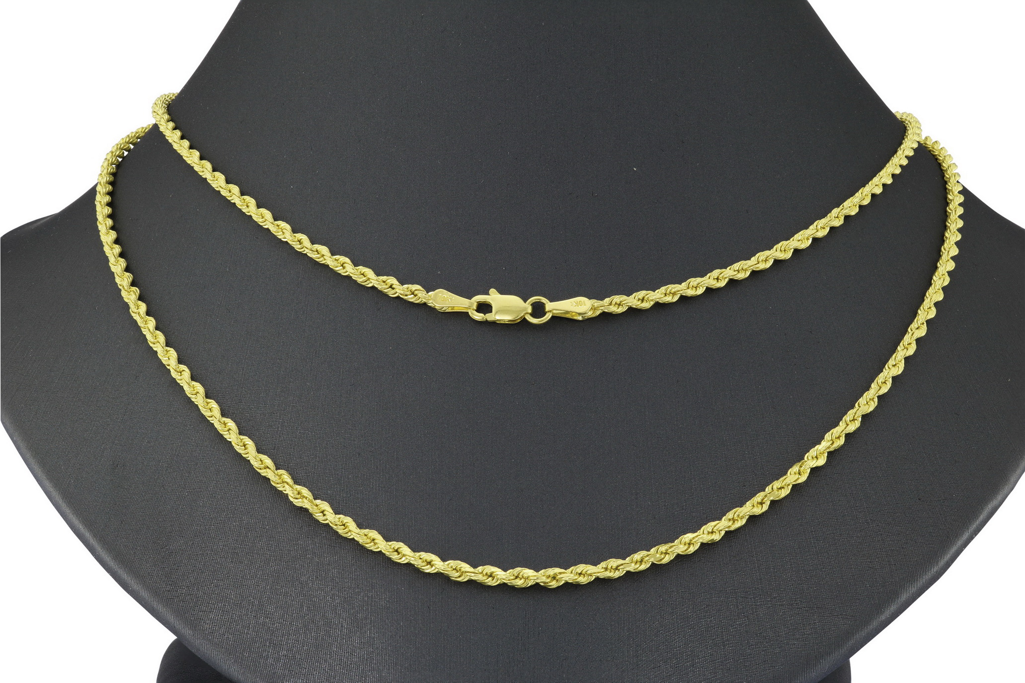 10K-Yellow-Gold-2-5mm-Solid-Rope-Chain-Pendant-Necklace-Lobster-Clasp-16-034-30-034 thumbnail 24