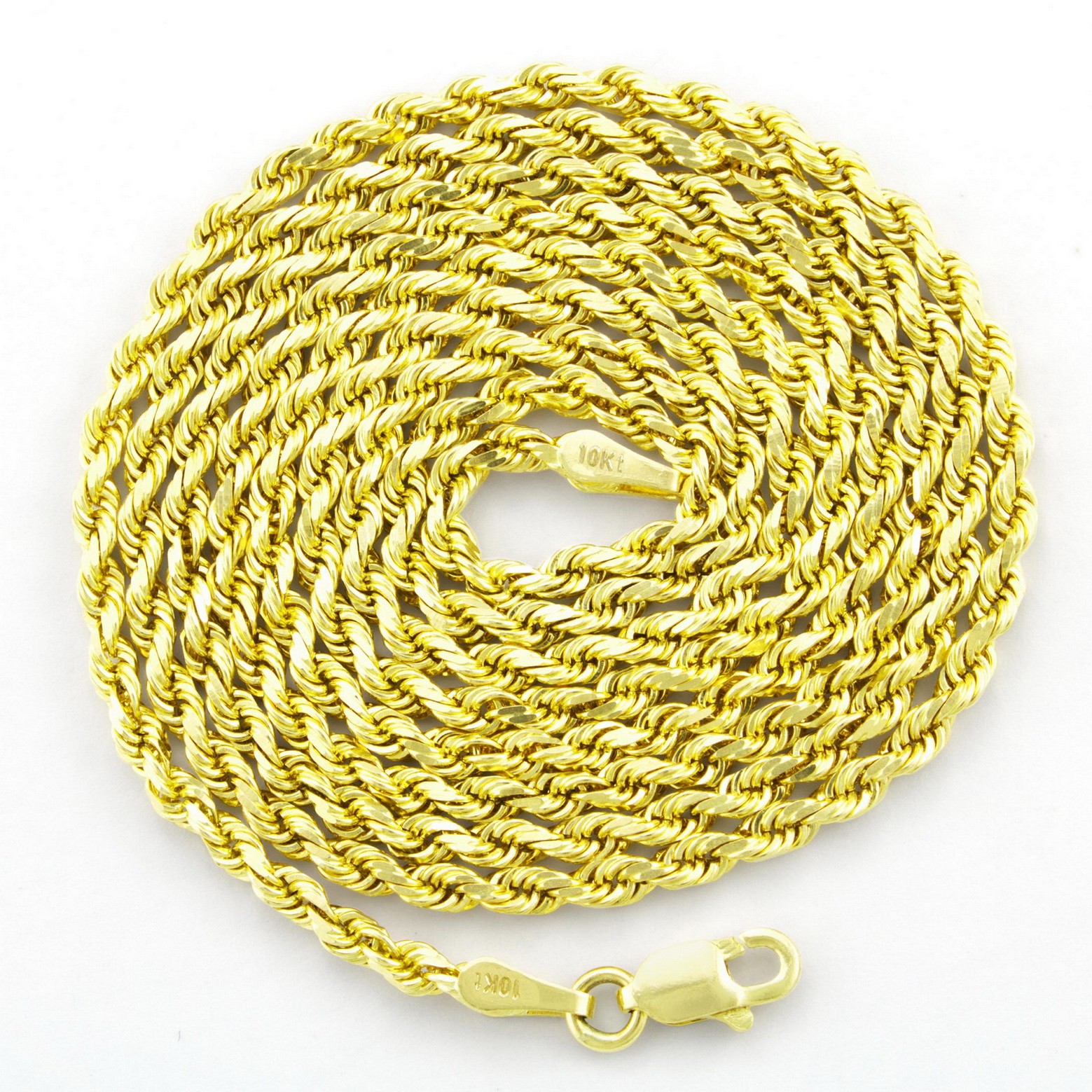 10K-Yellow-Gold-2-5mm-Solid-Rope-Chain-Pendant-Necklace-Lobster-Clasp-16-034-30-034 thumbnail 18
