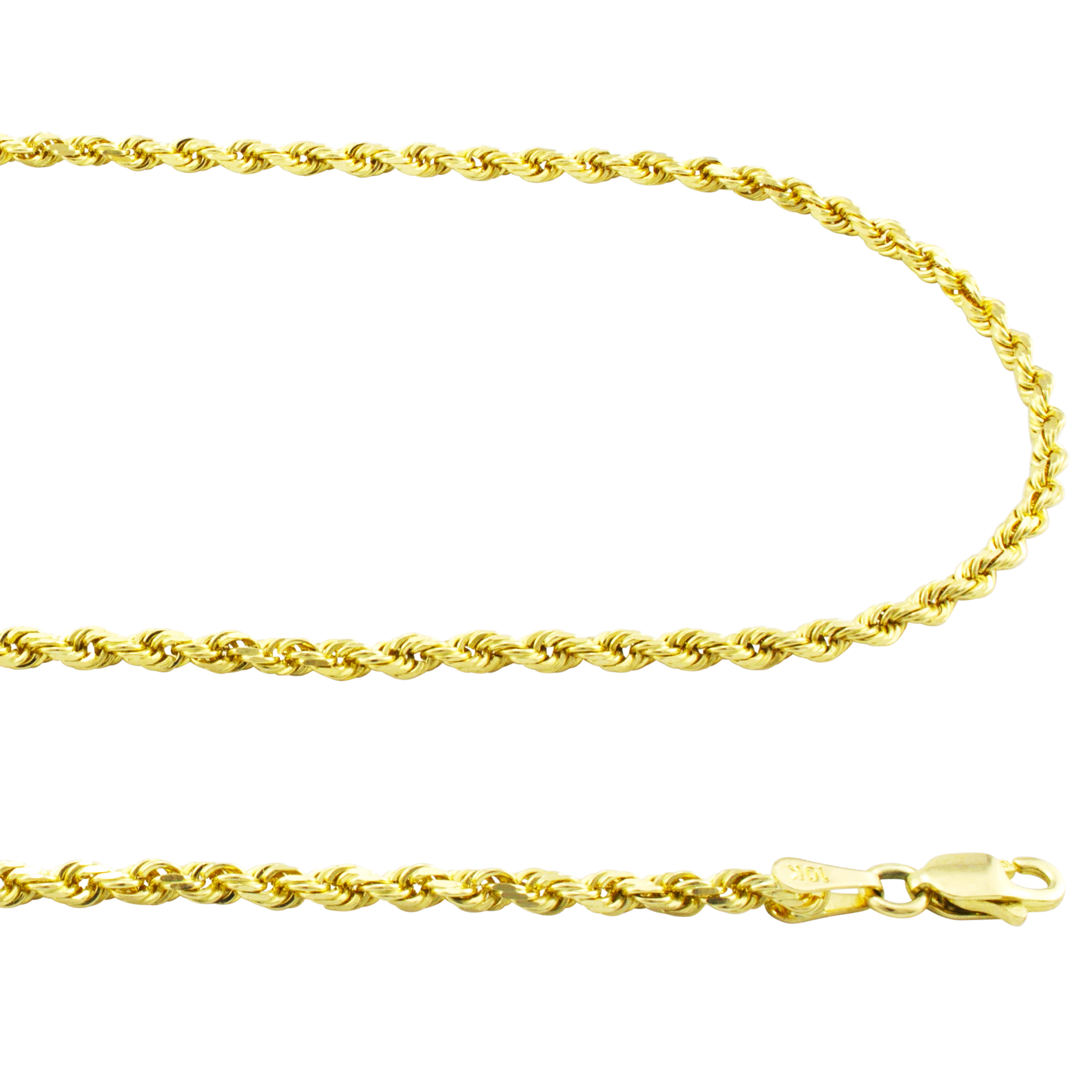 10K-Yellow-Gold-2-5mm-Solid-Rope-Chain-Pendant-Necklace-Lobster-Clasp-16-034-30-034 thumbnail 13