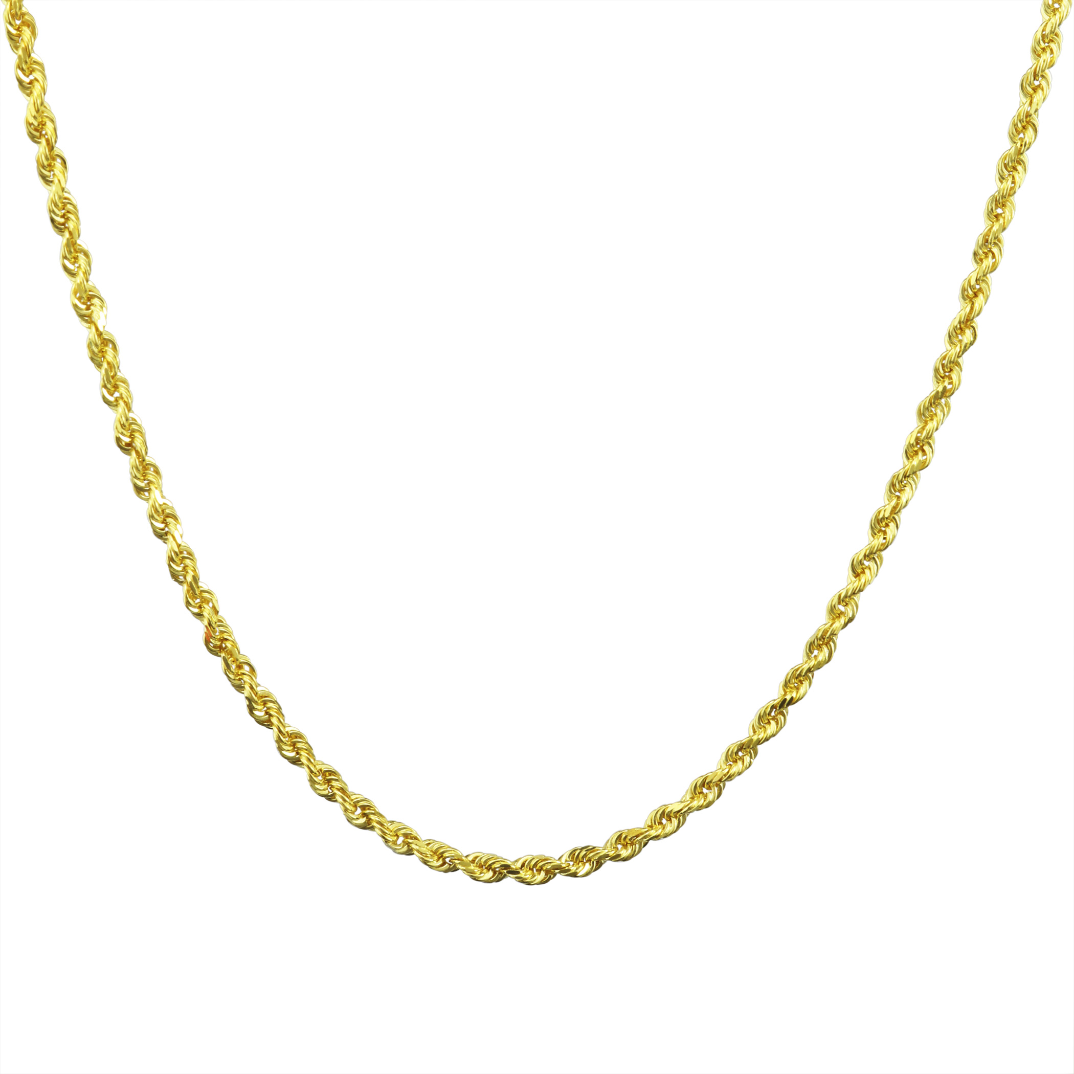 10K-Yellow-Gold-2-5mm-Solid-Rope-Chain-Pendant-Necklace-Lobster-Clasp-16-034-30-034 thumbnail 22