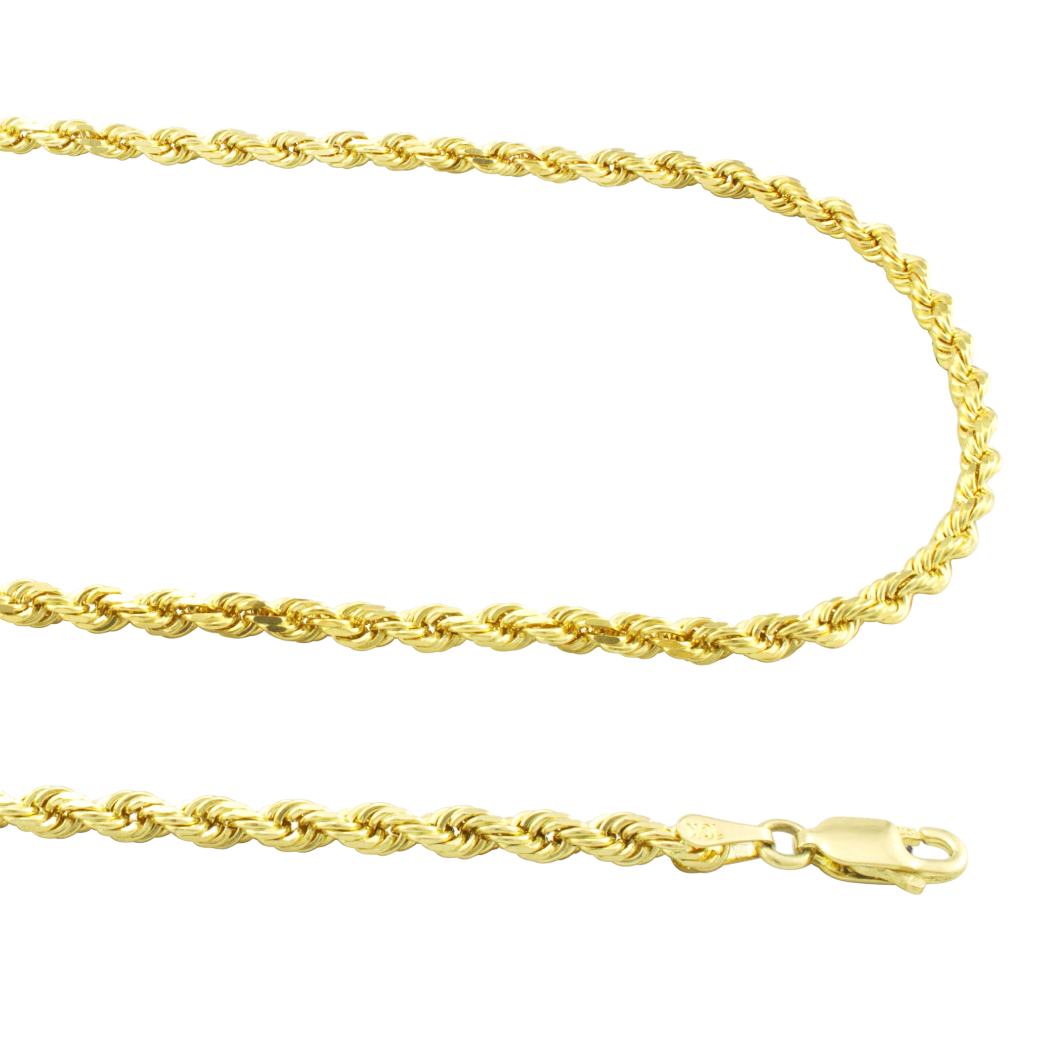"10K Yellow Gold Mens Women/'s Rope Chain Necklace 3.5MM 16/"" 30/"" All Sizes"